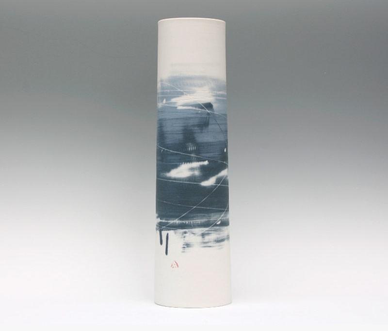 Ali Tomlin Tall Cylinder Vase Two Blues Foss Fine Art