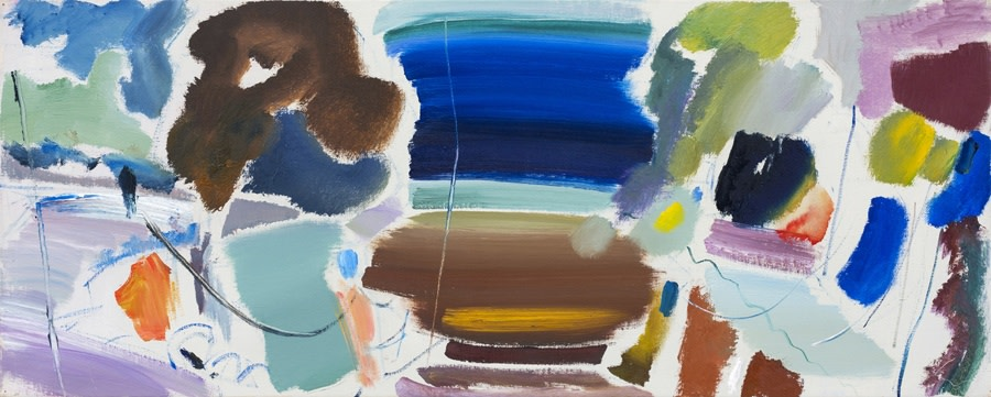 """<span class=""""link fancybox-details-link""""><a href=""""/exhibitions/6/works/artworks243/"""">View Detail Page</a></span><div class=""""artist""""><strong>Ivon Hitchens</strong></div> 1893-1979 <div class=""""title""""><em>October Roof Painting (No 1)</em></div> <div class=""""signed_and_dated"""">dated 1977 and titled verso<br> estate stamp verso</div> <div class=""""medium"""">oil on canvas</div> <div class=""""dimensions"""">43 x 109 cms (17 x 43 ins)<br> framed: 56 x 122 cms (22 x 48 ins)</div>"""