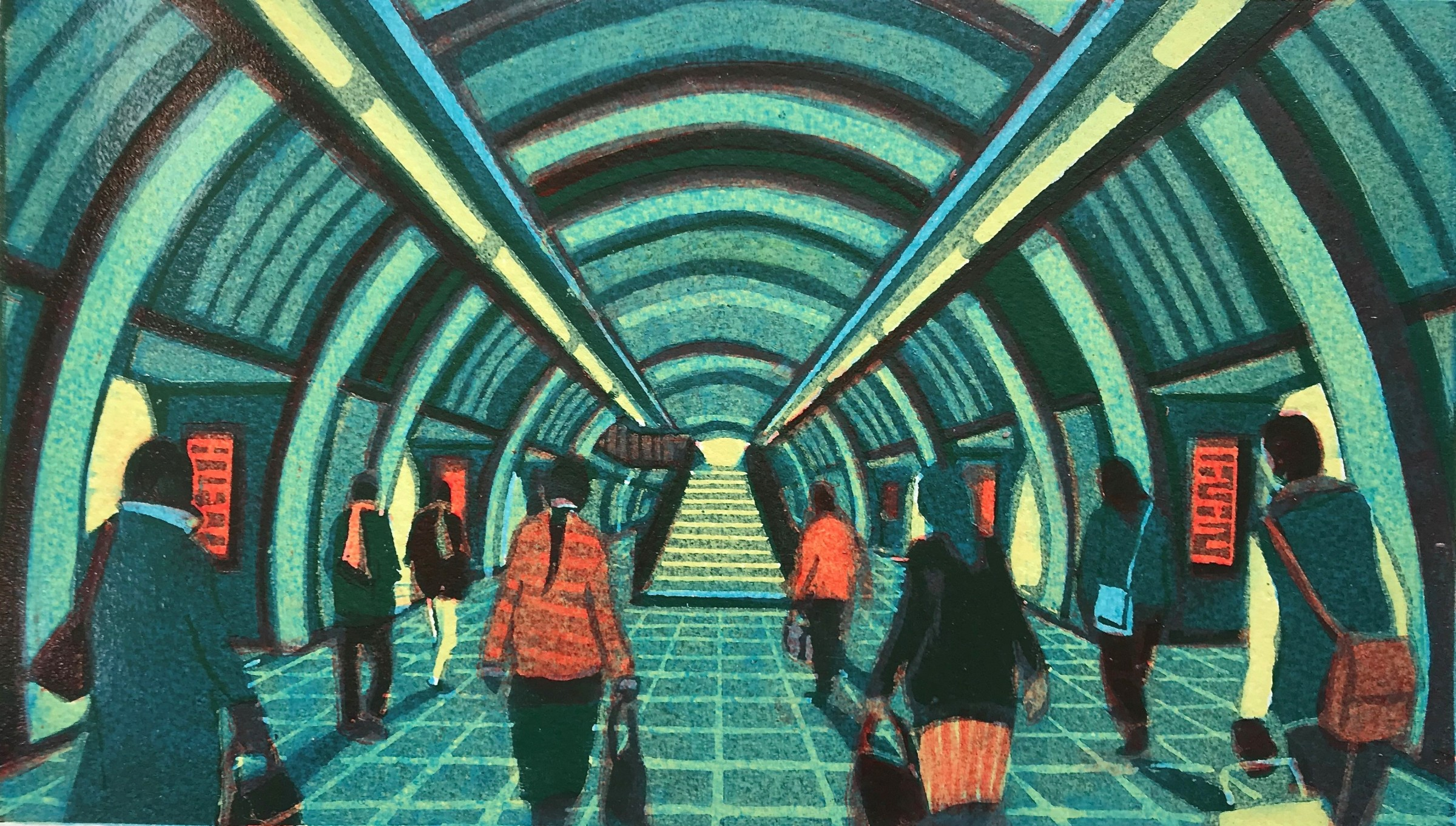"""<span class=""""link fancybox-details-link""""><a href=""""/exhibitions/11/works/image_standalone127/"""">View Detail Page</a></span><p>GAIL BRODHOLT RE</p><p></p><p><em>London Bridge Underground</em>, 2017</p><p>linocut</p><p>Inspired by Philip Thomas Langford Reeves RE</p><p></p><p>Part of the Print REbels Portfolio</p><p></p><p>""""<b>Philip Thomas Langford Reeves PPRSW RSA RE (1931-2017) </b>portrays the gritty smoky station of the '50s. Mine is contemporary, brighter, but more streamlined and hygienic. Reeves' figures are conformist, mine modernistically individual. Despite the temporal differences, basically we are the same; a metaphor for a changing London.""""</p><p></p><p></p>"""