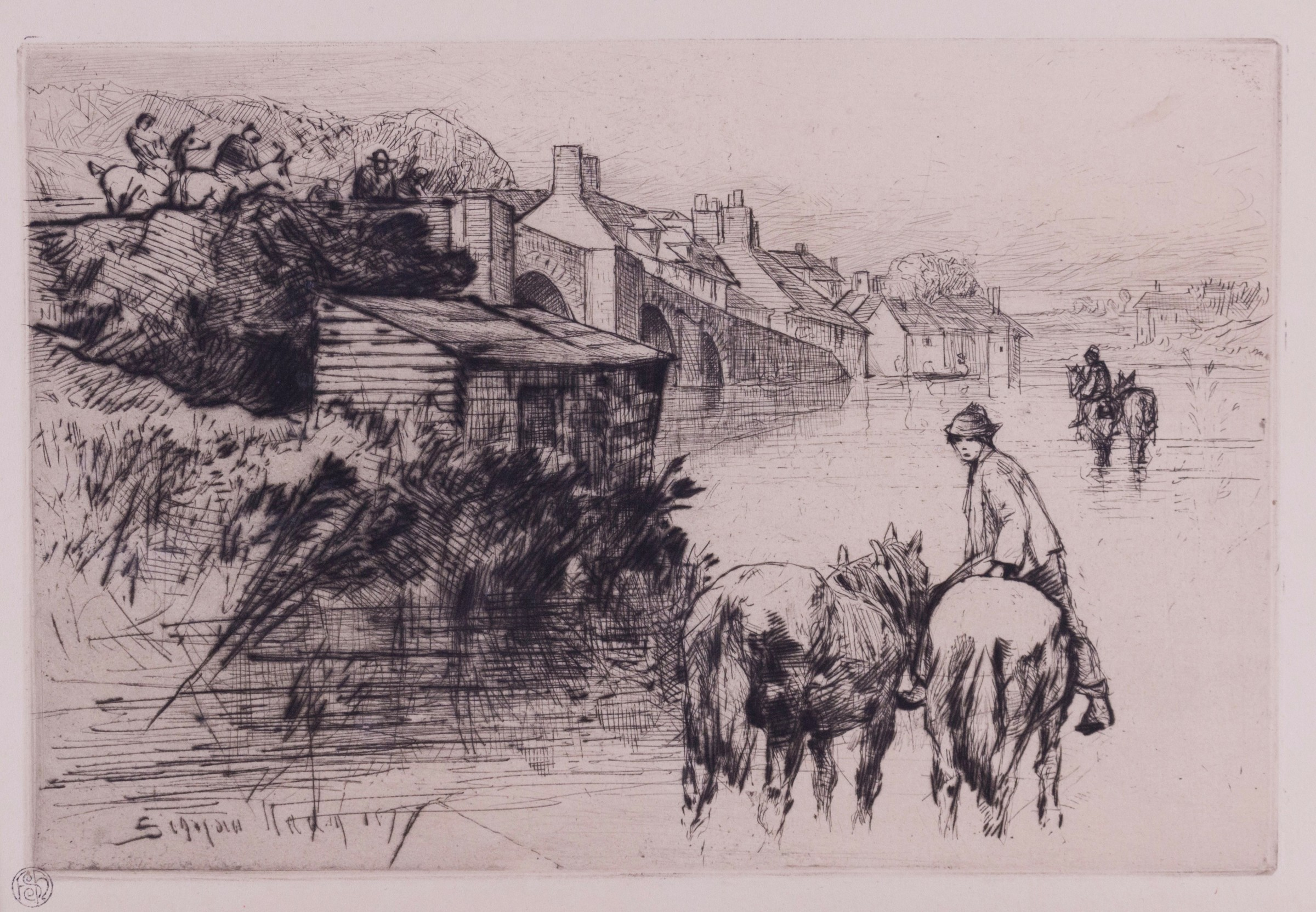 """<span class=""""link fancybox-details-link""""><a href=""""/exhibitions/11/works/image_standalone98/"""">View Detail Page</a></span><p>SIR FRANCIS SEYMOUR HADEN (1818 - 1910)</p><p><em></em></p><p><em>Wareham Bridge, 1877</em></p><p>etching</p>"""