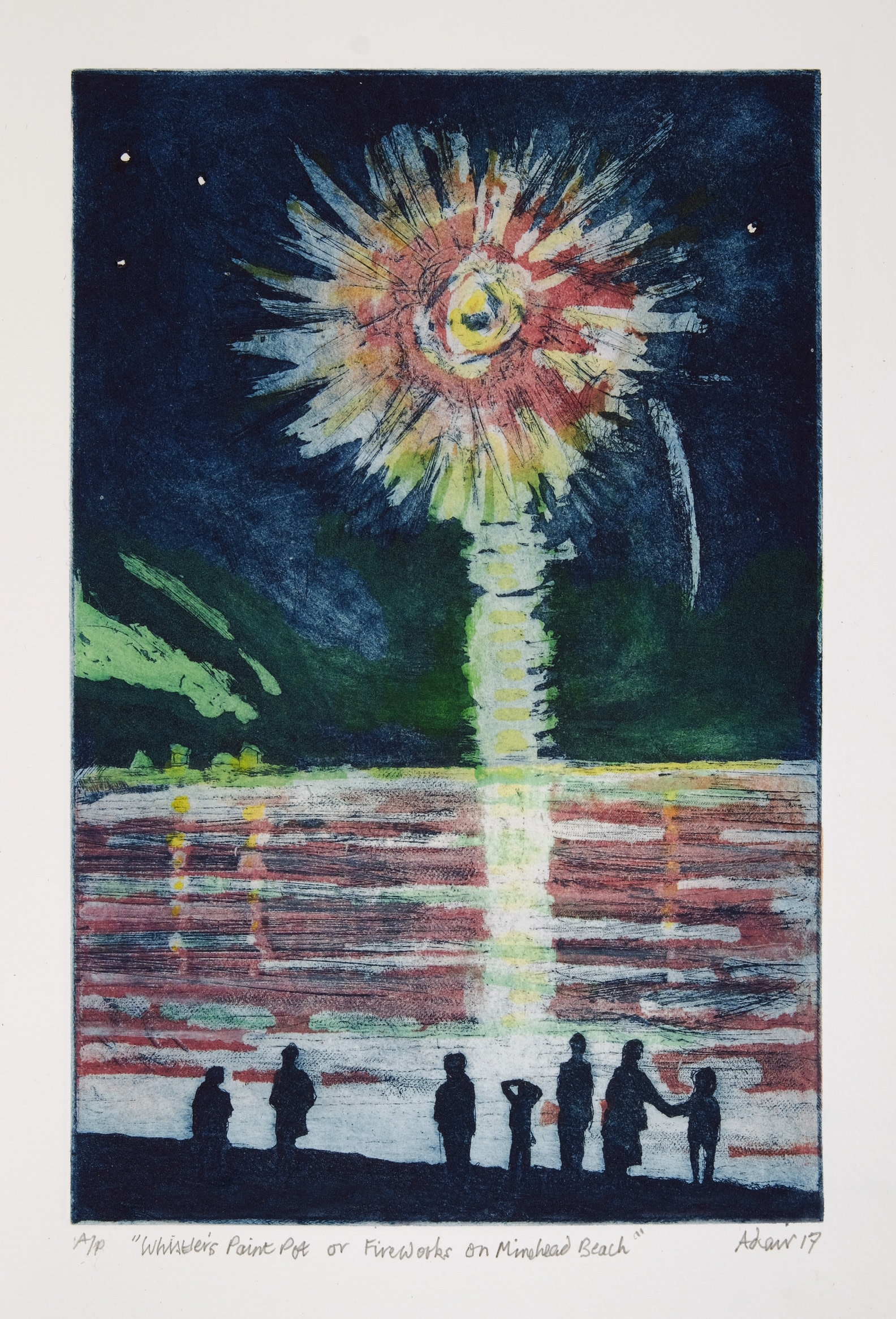 """<span class=""""link fancybox-details-link""""><a href=""""/exhibitions/11/works/image_standalone134/"""">View Detail Page</a></span><p>HILARY ADAIR RE</p><p></p><p><em>Whistler's Paint Pot, or fireworks on Minehead Beach</em>, 2017</p><p>etching & aquatint</p><p>Inspired by JAM Whistler</p><p></p><p>Part of the Print REbels Portfolio</p><p></p><p>""""<b>James Abbott McNeill Whistler (1834-1903)</b> became famous for his legal dispute with Ruskin, who accused him of 'flinging a paint pot in the public's face' with his innovative semi-abstract work <i>Falling Rocket</i>. Whistler won, but was awarded one farthing for costs.""""</p>"""
