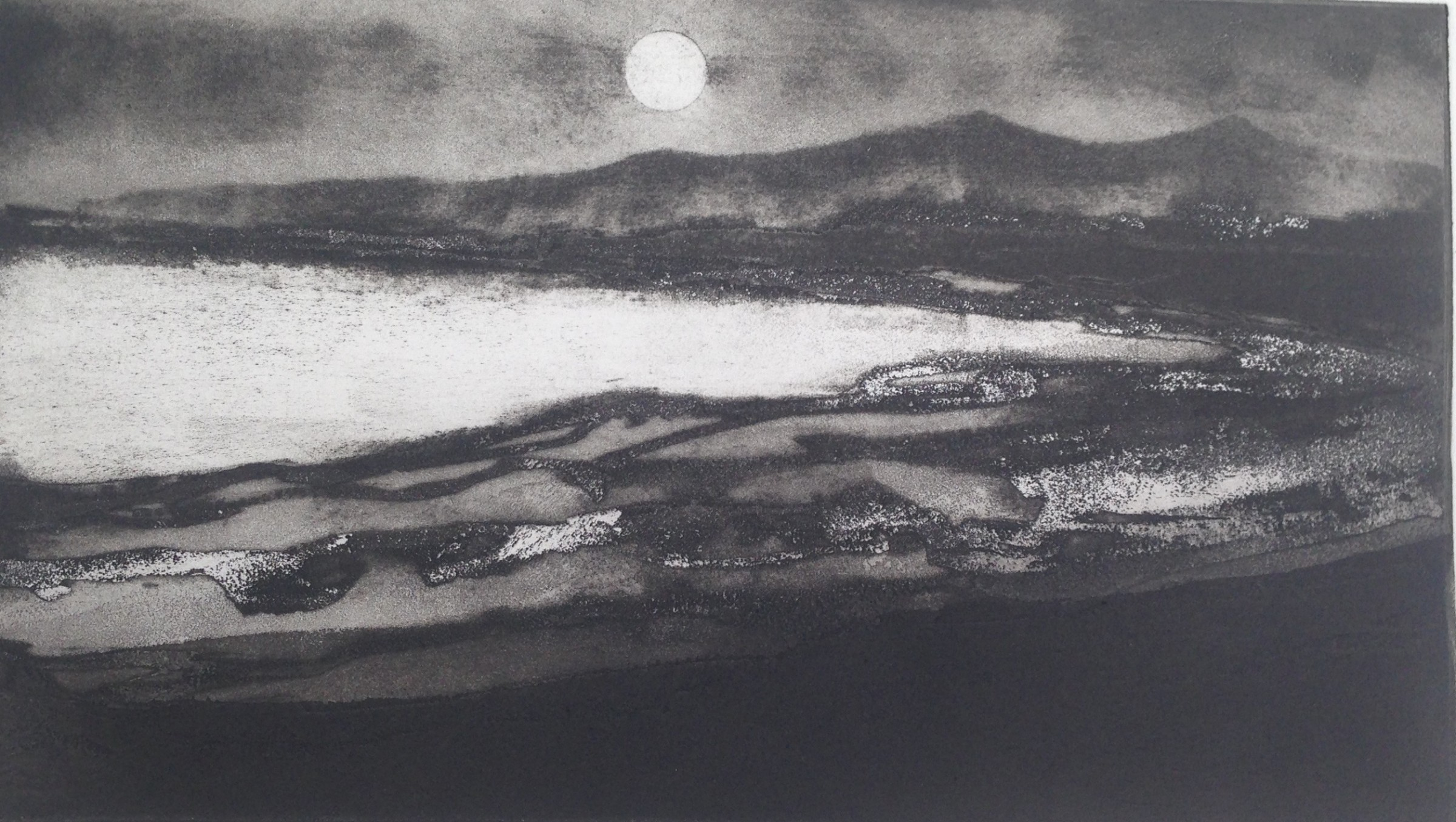 """<span class=""""link fancybox-details-link""""><a href=""""/exhibitions/11/works/image_standalone107/"""">View Detail Page</a></span><p>JASON HICKLIN RE<br /><br /></p><p><em>Moon over St Kilda after FS</em>, 2017</p><p>etching and aquatint</p><p>Inspired by Frank Short RA PPRE</p><p></p><p>Part of the Print REbels Portfolio (and featured in the box set)</p><p></p><p>""""<b>Sir Frank Short RA PPRE (1857-1945)</b> was a fellow West Midlander and etcher; walking on the island, I witnessed the moon over St Kilda and it immediately brought Frank Short's work to mind, together with a feeling of being a long way from home.""""<br /> </p>"""