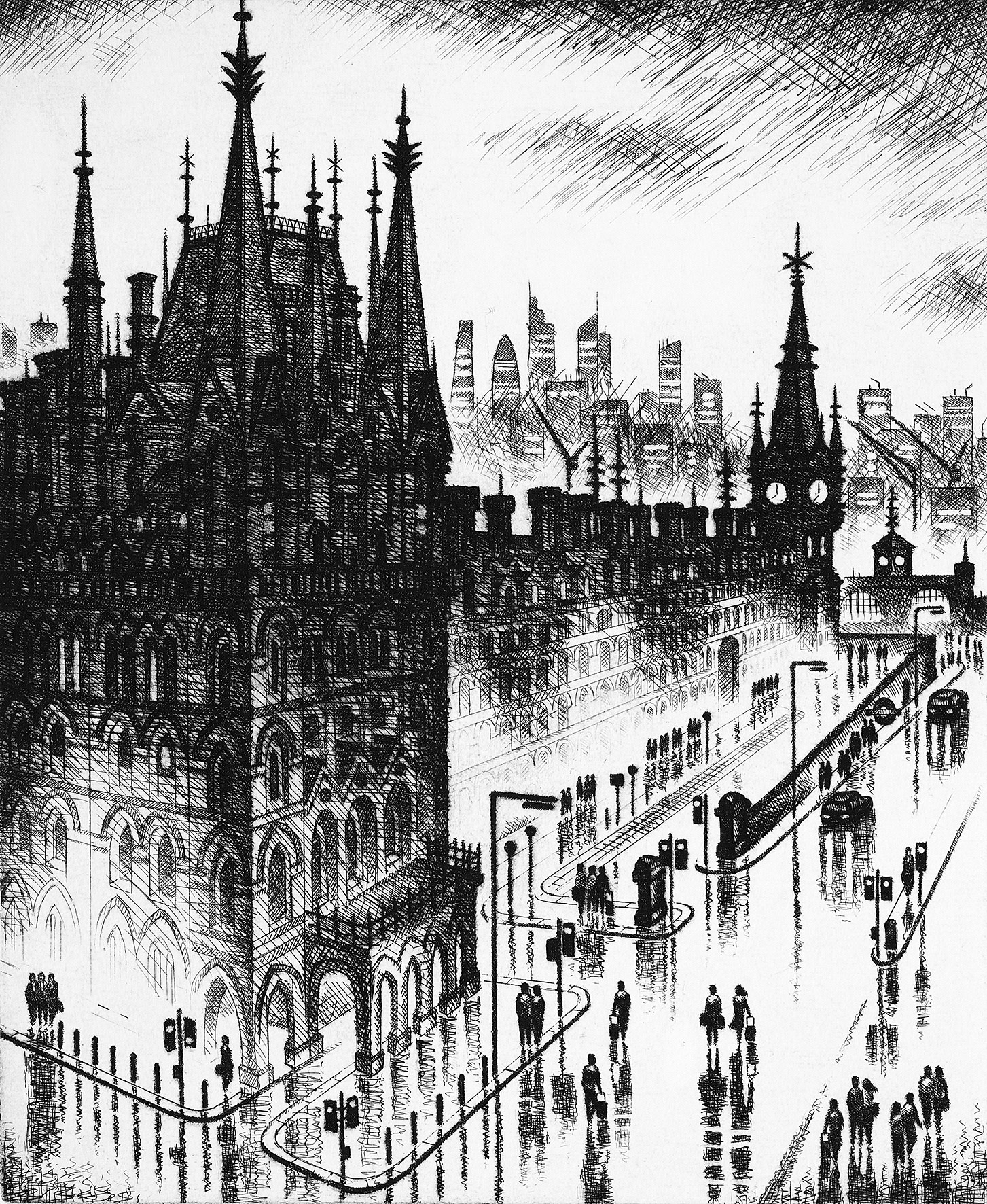 """<span class=""""link fancybox-details-link""""><a href=""""/exhibitions/11/works/image_standalone138/"""">View Detail Page</a></span><p>JOHN DUFFIN RE</p><p></p><p><em>King's Cross Rain</em>, 2017</p><p>etching</p><p>Inspired by Walter Richard Sickert RE</p><p></p><p>Part of the Print REbels Portfolio</p><p></p><p>""""My etching <i>King's Cross Rain</i> is a reference to <b>Walter Richard Sickert RA ARE (1860-1942)</b>'s etching <i>Sussex Place, Regent's Park</i> in which the pared back use of line to describe form, light and mood is achieved with masterly simplicity.""""</p>"""