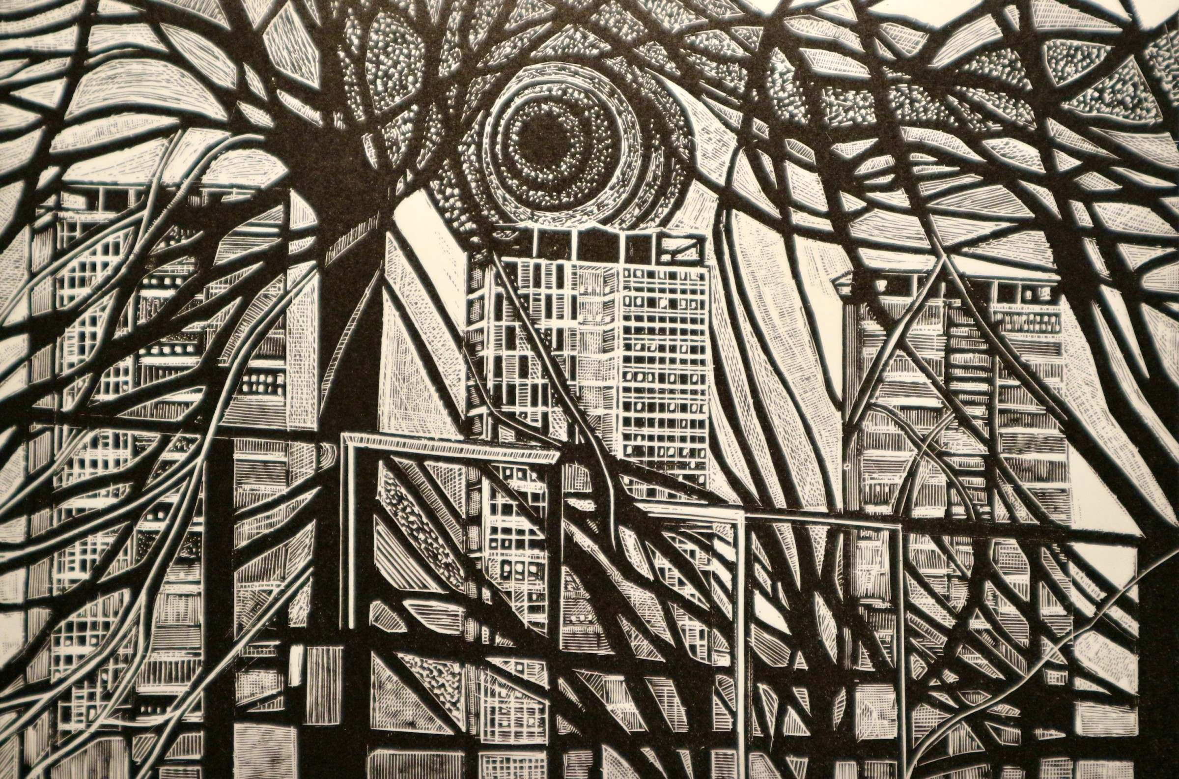 """<span class=""""link fancybox-details-link""""><a href=""""/exhibitions/11/works/image_standalone113/"""">View Detail Page</a></span><p>LOUISE HAYWARD RE<br /><br /></p><p><em>Memory of an Urban Landscape</em>, 2017</p><p>engraving</p><p>Inspired by Garrick Palmer RE</p><p></p><p>Part of the Print REbels Portfolio (and featured in the box set)</p><p></p><p>""""The organic, ambiguous landscapes of <b>Garrick Palmer RE (1933-)</b> exist as real places in time while swirling with elemental forces communicated through beautiful engraving.""""</p>"""