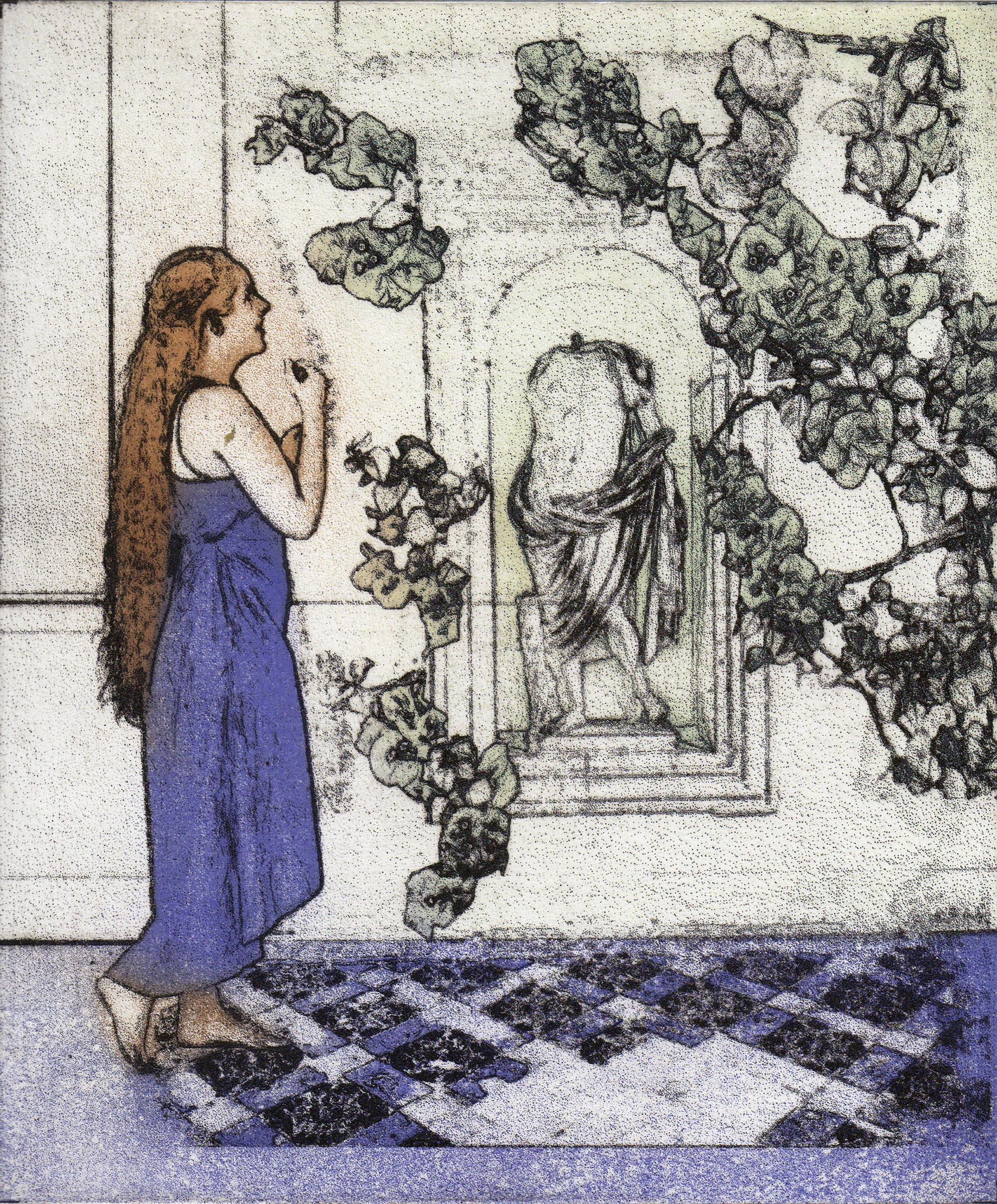 """<span class=""""link fancybox-details-link""""><a href=""""/exhibitions/11/works/image_standalone137/"""">View Detail Page</a></span><p>MARGARET ASHMAN RE</p><p></p><p><em>In the Courtyard</em>, 2017</p><p>photo etching</p><p>Inspired by Sir Frank Brangwyn RA RWS RE</p><p></p><p>Part of the Print REbels Portfolio</p><p></p><p>""""This work pays tribute to <b>Sir Frank Brangwyn RA ARWS RE PRBA (1867-1956)</b>, to whom I am related - we are seventh cousins, and his position as a leading light of the Arts and Crafts Movement.""""</p>"""