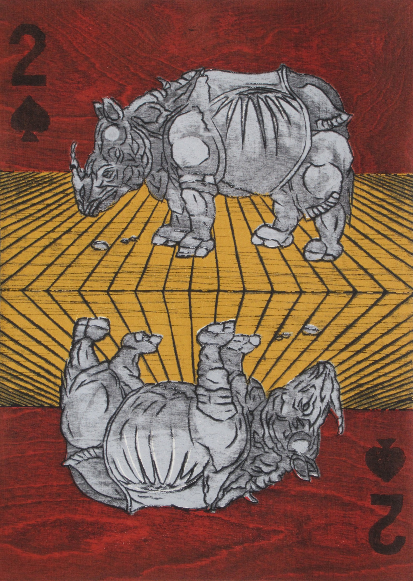 """<span class=""""link fancybox-details-link""""><a href=""""/exhibitions/11/works/image_standalone153/"""">View Detail Page</a></span><p>NANA SHIOMI RE</p><p></p><p><em>Twin Rhinos of Dürer</em>, 2017</p><p>woodcut</p><p>Inspired by Albrecht Dürer</p><p></p><p>Part of the Print REbels Portfolio</p><p></p><p>""""I invited <b>Albrecht Dürer (1471-1528)</b>'s <i>Rhinoceros</i> to my printmaking world for this fabulous occasion; I picked up the format of the playing card, two of Spades, because the shape of Spade looks like Rhino's view from its front (or back).""""</p>"""
