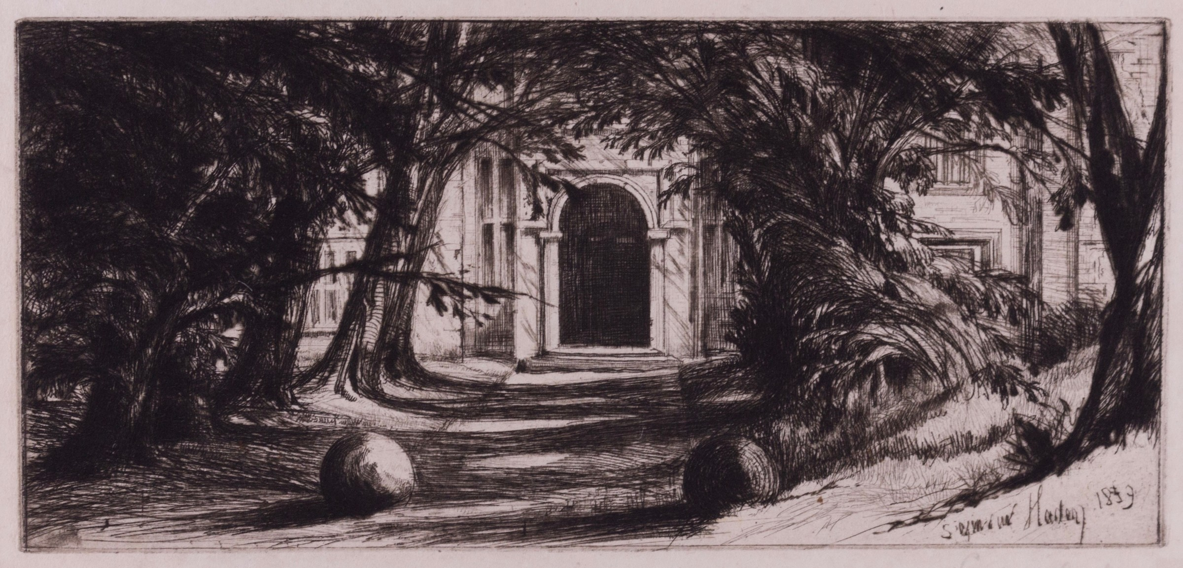"<span class=""link fancybox-details-link""><a href=""/exhibitions/11/works/image_standalone96/"">View Detail Page</a></span><p>SIR FRANCIS SEYMOUR HADEN (1818 - 1910)</p><p><em></em></p><p><em>Mytton Hall, 1859</em></p><p>drypoint</p>"
