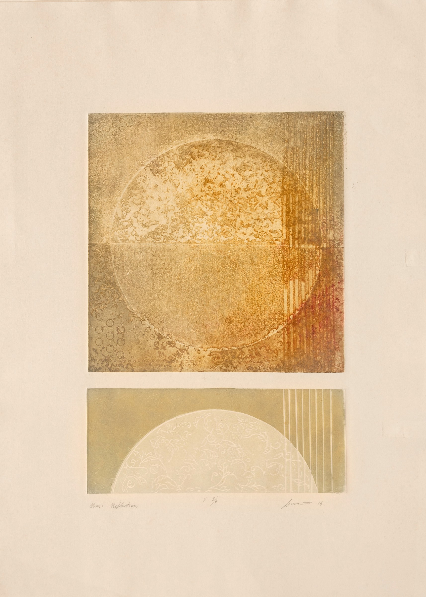 """<span class=""""link fancybox-details-link""""><a href=""""/exhibitions/17/works/image_standalone614/"""">View Detail Page</a></span><p><strong>Angela Luvera</strong></p><p>Moon Reflection</p><p>aquatint & mixed techniques, edition of 3</p><p>40 x 50cm</p><p>£1300 framed</p><p>£1100 unframed</p>"""