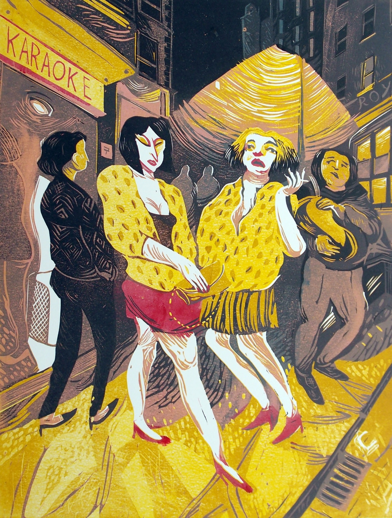 """<span class=""""link fancybox-details-link""""><a href=""""/exhibitions/17/works/image_standalone619/"""">View Detail Page</a></span><p><strong>James Albon</strong></p><p>Ladies in Leopard Print</p><p>reduction linocut, ed of 6</p><p>45 x 60cm</p><p>£600 framed</p><p>£500 unframed</p><p></p>"""