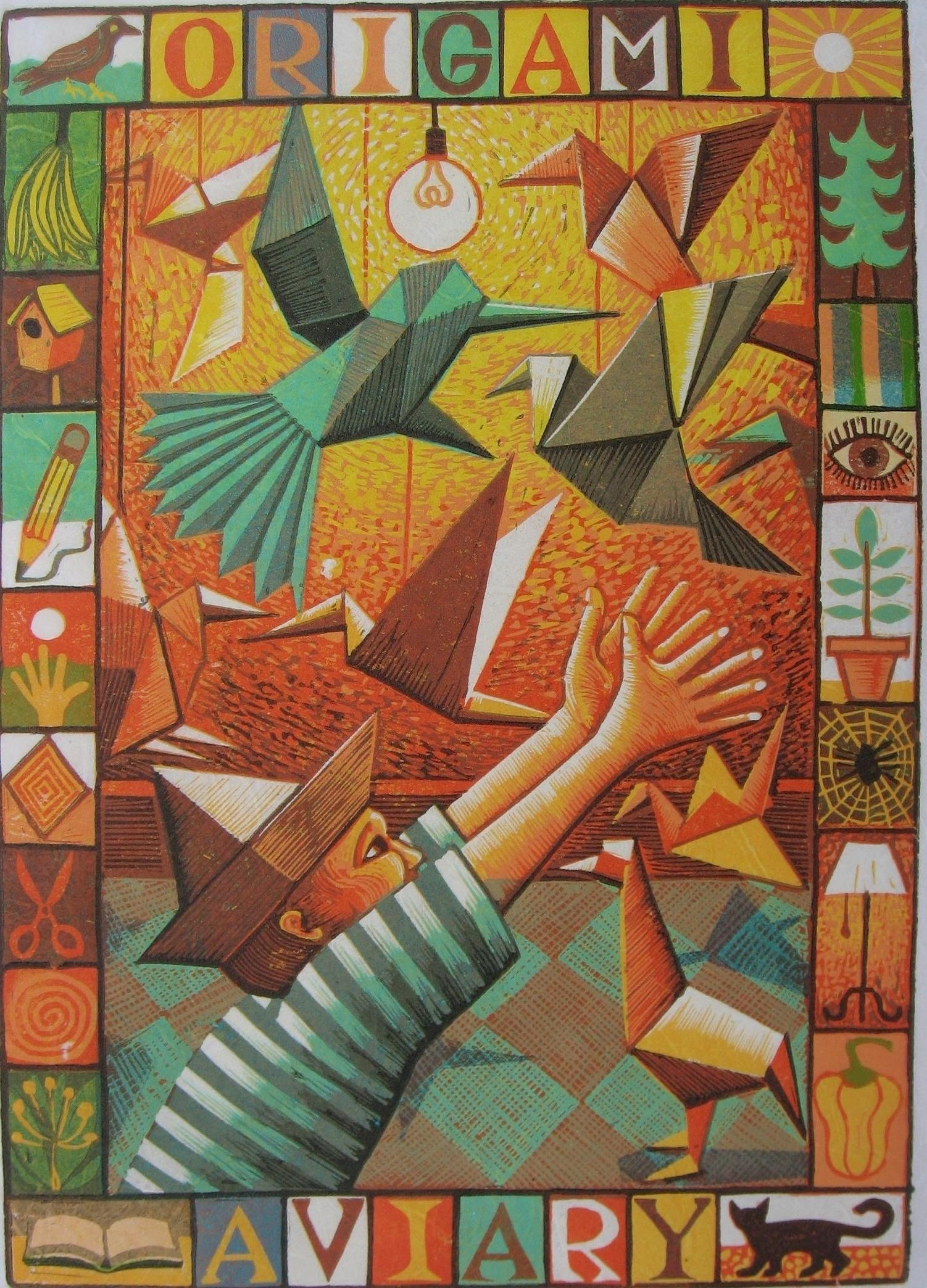 """<span class=""""link fancybox-details-link""""><a href=""""/exhibitions/17/works/image_standalone625/"""">View Detail Page</a></span><p><strong>Jim Anderson</strong></p><p>Children's Games VIII (Origami Aviary)</p><p>linocut, ed of 10</p><p>54 x 44cm</p><p>£300 framed</p><p>£230 unframed</p>"""