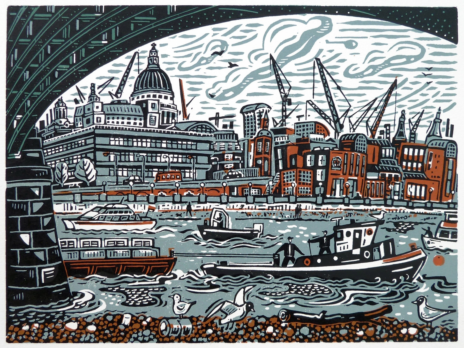 "<span class=""link fancybox-details-link""><a href=""/exhibitions/17/works/image_standalone628/"">View Detail Page</a></span><p><strong>Mick Armson</strong></p><p>Under Blackfriars Bridge</p><p>linocut, ed of 75</p><p>47 x 41cm</p><p>£275 framed</p><p>£175 unframed</p>"