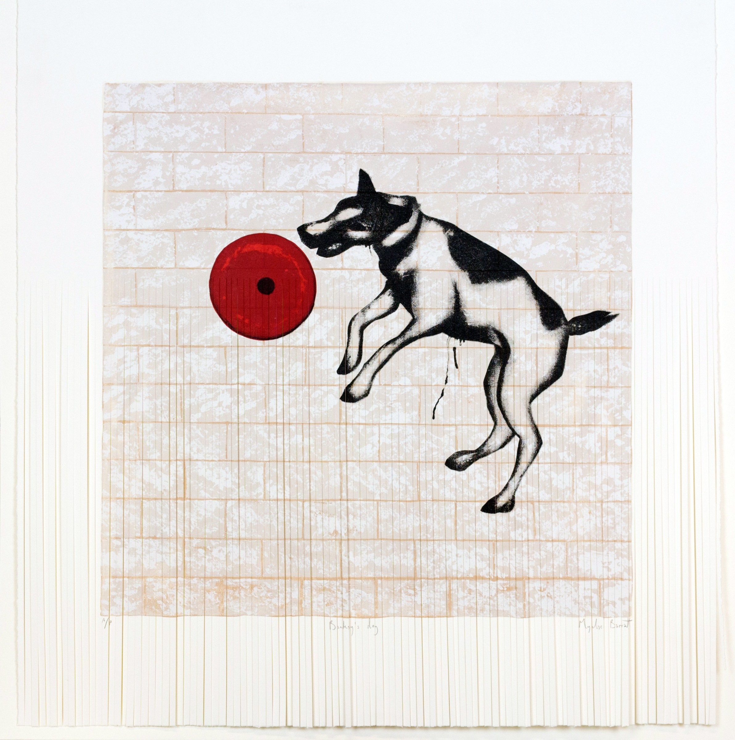 "<span class=""link fancybox-details-link""><a href=""/exhibitions/17/works/image_standalone612/"">View Detail Page</a></span><p><strong>Mychael Barratt</strong></p><p>Banksy's Dog (Shredded)</p><p>silkscreen & scapel, ed of 50</p><p>75 x 73cm </p><p>£600 framed</p><p>£500 unframed</p>"