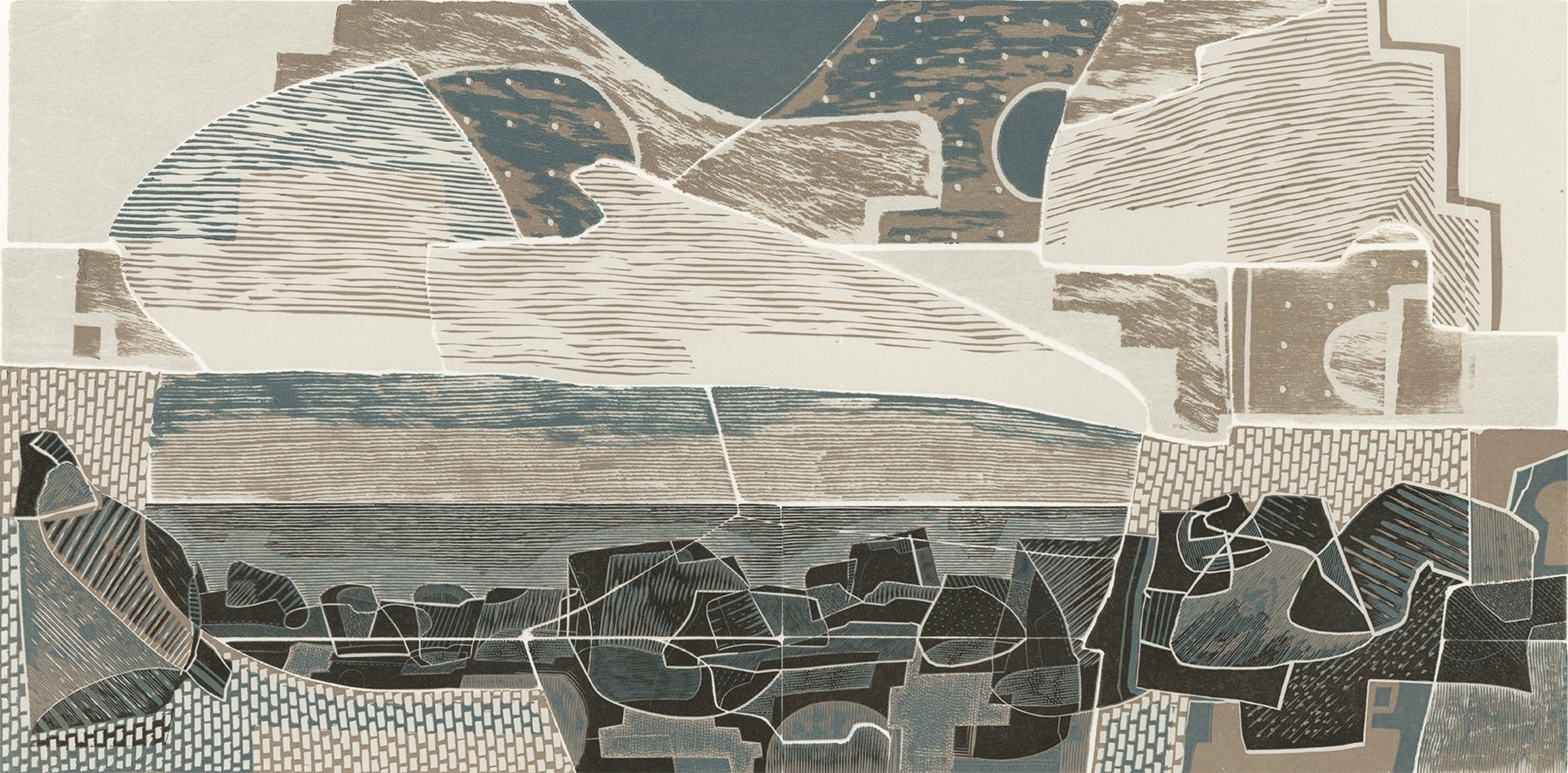 "<span class=""link fancybox-details-link""><a href=""/exhibitions/17/works/image_standalone633/"">View Detail Page</a></span><p><strong>Neil Bousfield</strong></p><p>Land & Sea, Past & Present I</p><p>linocut, wood engraving</p><p>40 x 25cm</p><p>£550 framed</p><p>£450 unframed</p>"