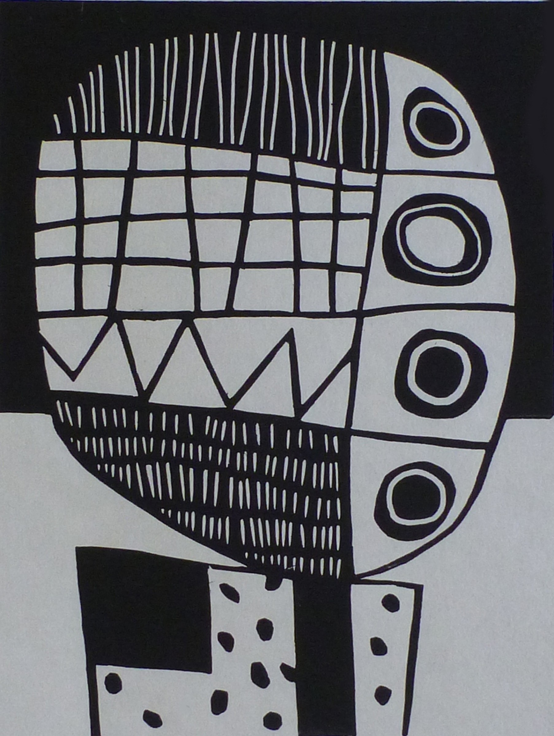"""<span class=""""link fancybox-details-link""""><a href=""""/exhibitions/17/works/image_standalone659/"""">View Detail Page</a></span><p><strong>Julian Davies</strong></p><p>Chatterbox</p><p>linocut, ed of 20</p><p>36 x 31cm</p><p>£150 framed</p><p>£100 unframed</p>"""