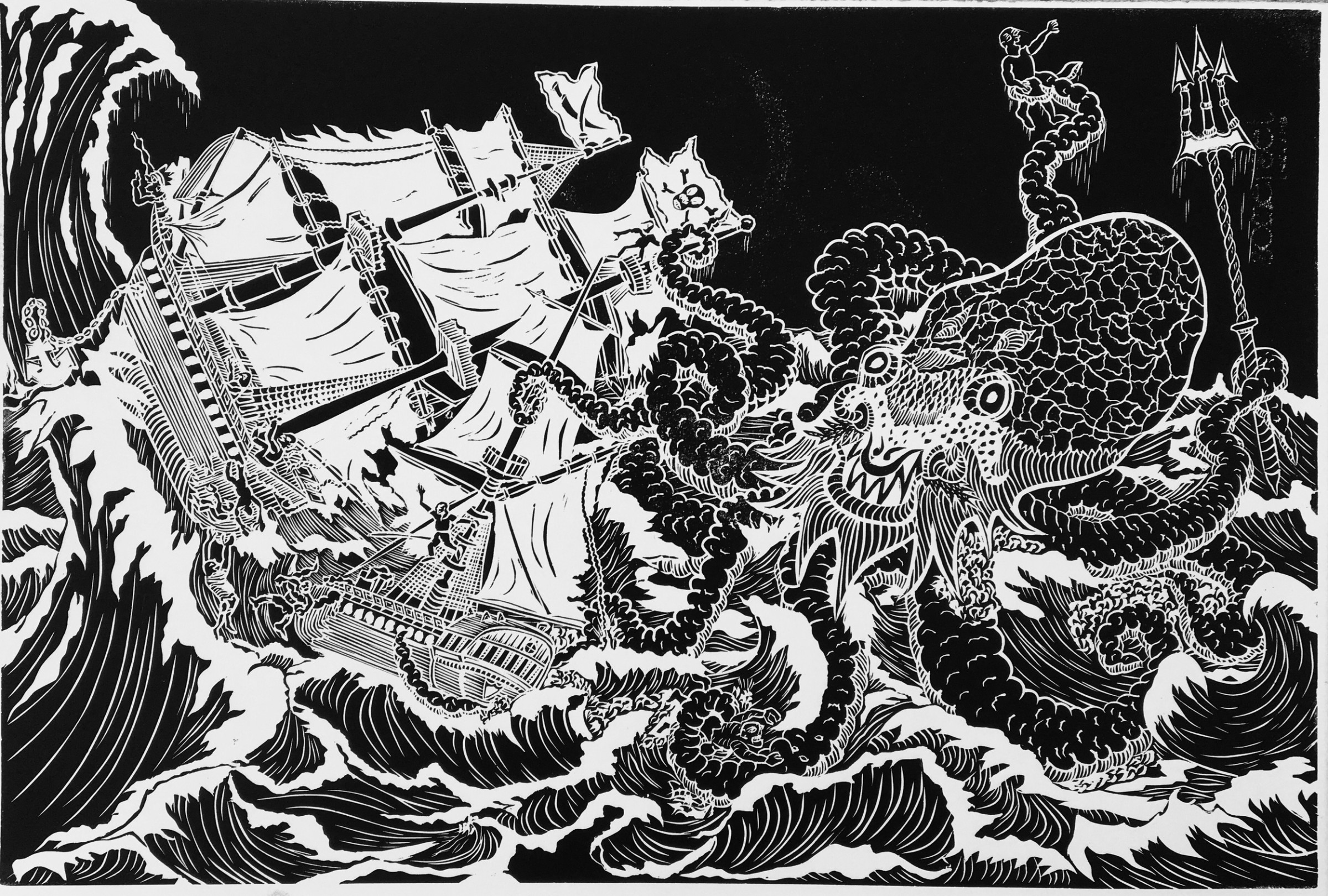 "<span class=""link fancybox-details-link""><a href=""/exhibitions/17/works/image_standalone683/"">View Detail Page</a></span><p><strong>Fernando Feijoo</strong></p><p>Kraken</p><p>linocut, ed of 30</p><p>60 x 40cm</p><p>£295 framed</p><p>£250 unframed</p>"