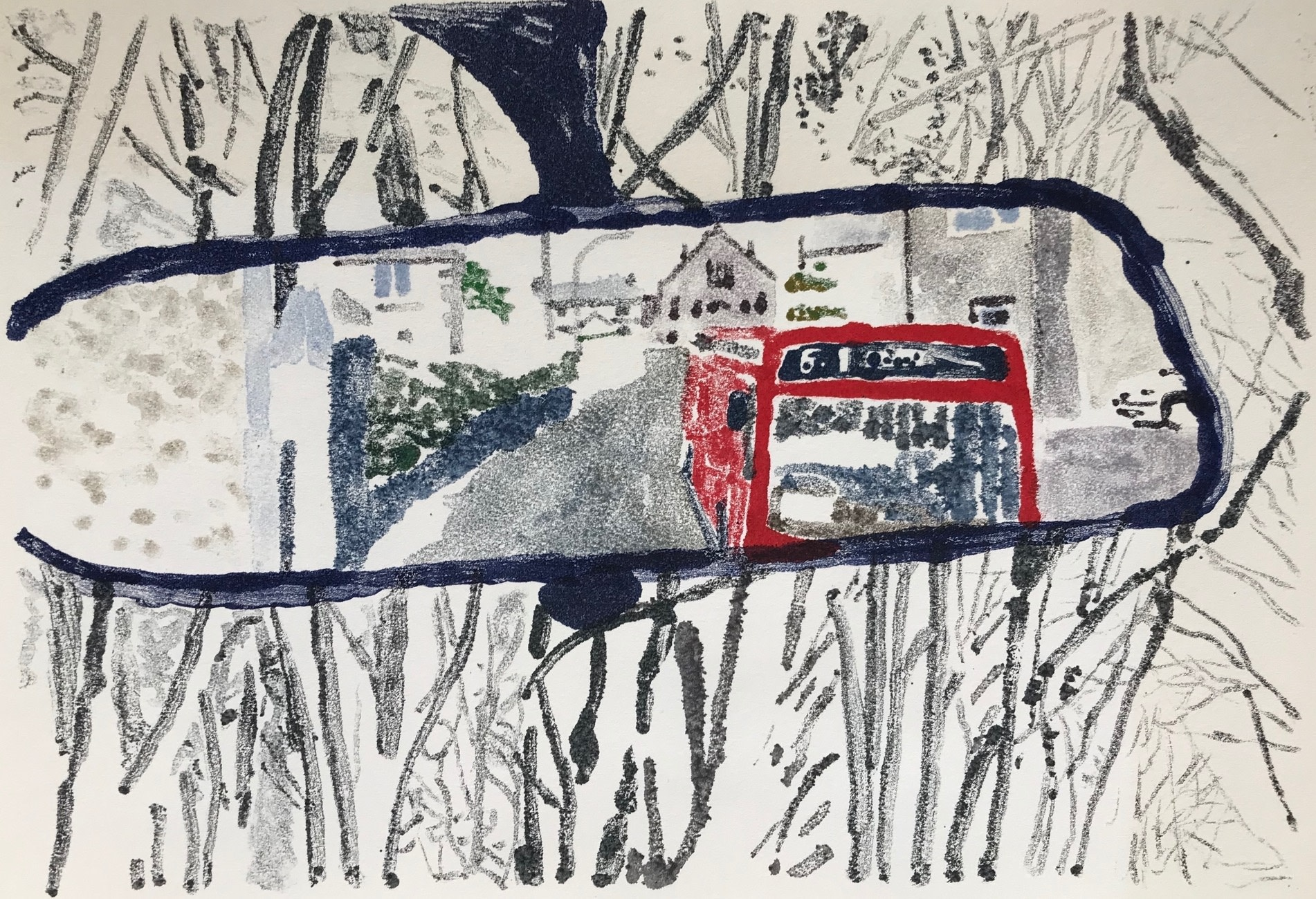 "<span class=""link fancybox-details-link""><a href=""/exhibitions/17/works/image_standalone687/"">View Detail Page</a></span><p><strong>Juliet Goodden</strong></p><p>Bus out of Town</p><p>monoprint, oil on paper, 1/1</p><p>35 x 45cm</p><p>£400 framed</p><p>£300 unframed</p>"