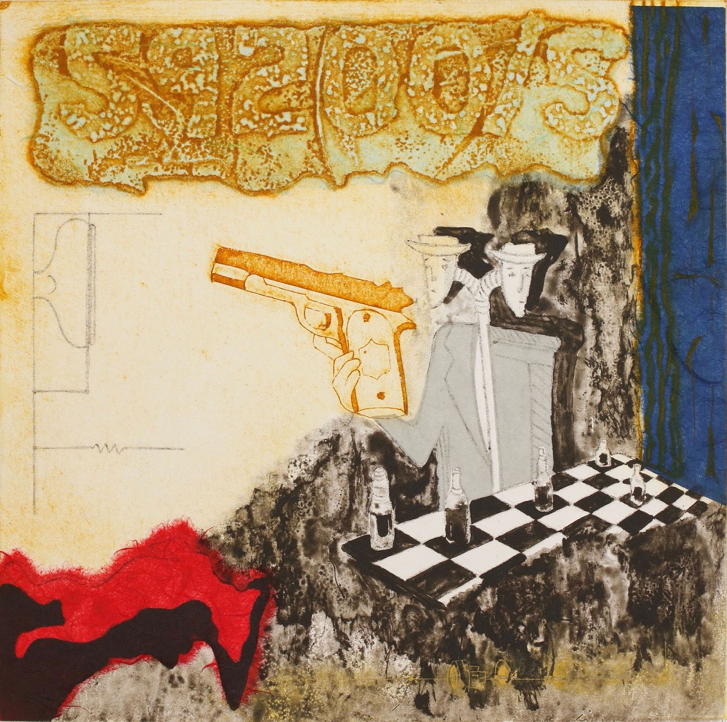 """<span class=""""link fancybox-details-link""""><a href=""""/exhibitions/17/works/image_standalone697/"""">View Detail Page</a></span><p><strong>Bernie Grist</strong></p><p>The Spy</p><p>collagraph / polymer gravure with chine collee, ed of 10</p><p>45 x 45cm</p><p>£300 framed</p><p>£260 unframed</p>"""