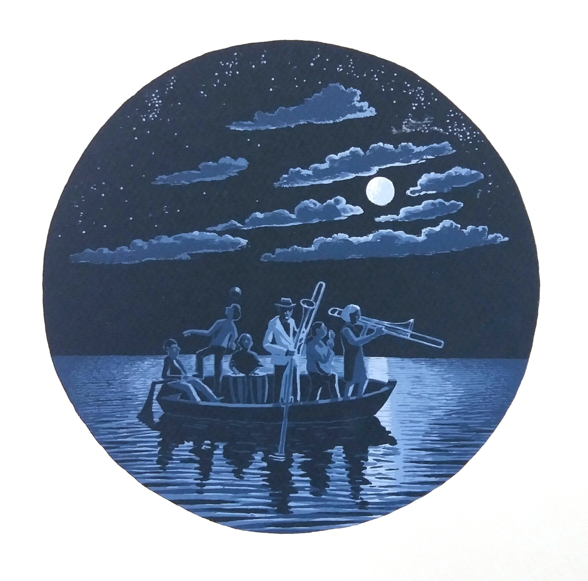 """<span class=""""link fancybox-details-link""""><a href=""""/exhibitions/17/works/image_standalone692/"""">View Detail Page</a></span><p><strong>Martin Grover</strong></p><p>The Univited Guests (Night Boat to Sorrow)</p><p>screenprint, ed of 21</p><p>39 x 39cm</p><p>£280 framed</p><p>£210 unframed</p><p></p>"""
