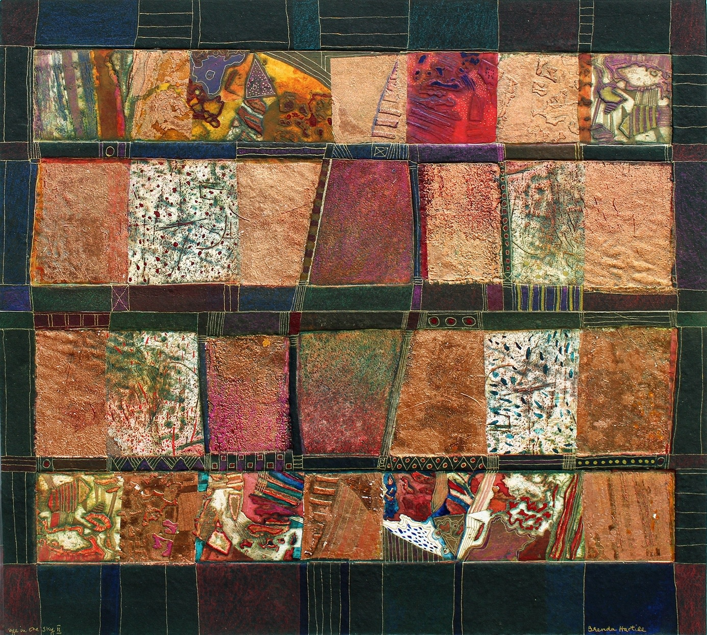 """<span class=""""link fancybox-details-link""""><a href=""""/exhibitions/17/works/image_standalone699/"""">View Detail Page</a></span><p><strong>Brenda Hartill</strong></p><p>Eye in the Sky II</p><p>waxed collaged etching with copper leaf and watercolour, unique</p><p>52 x 58cm</p><p>£1100 framed</p>"""