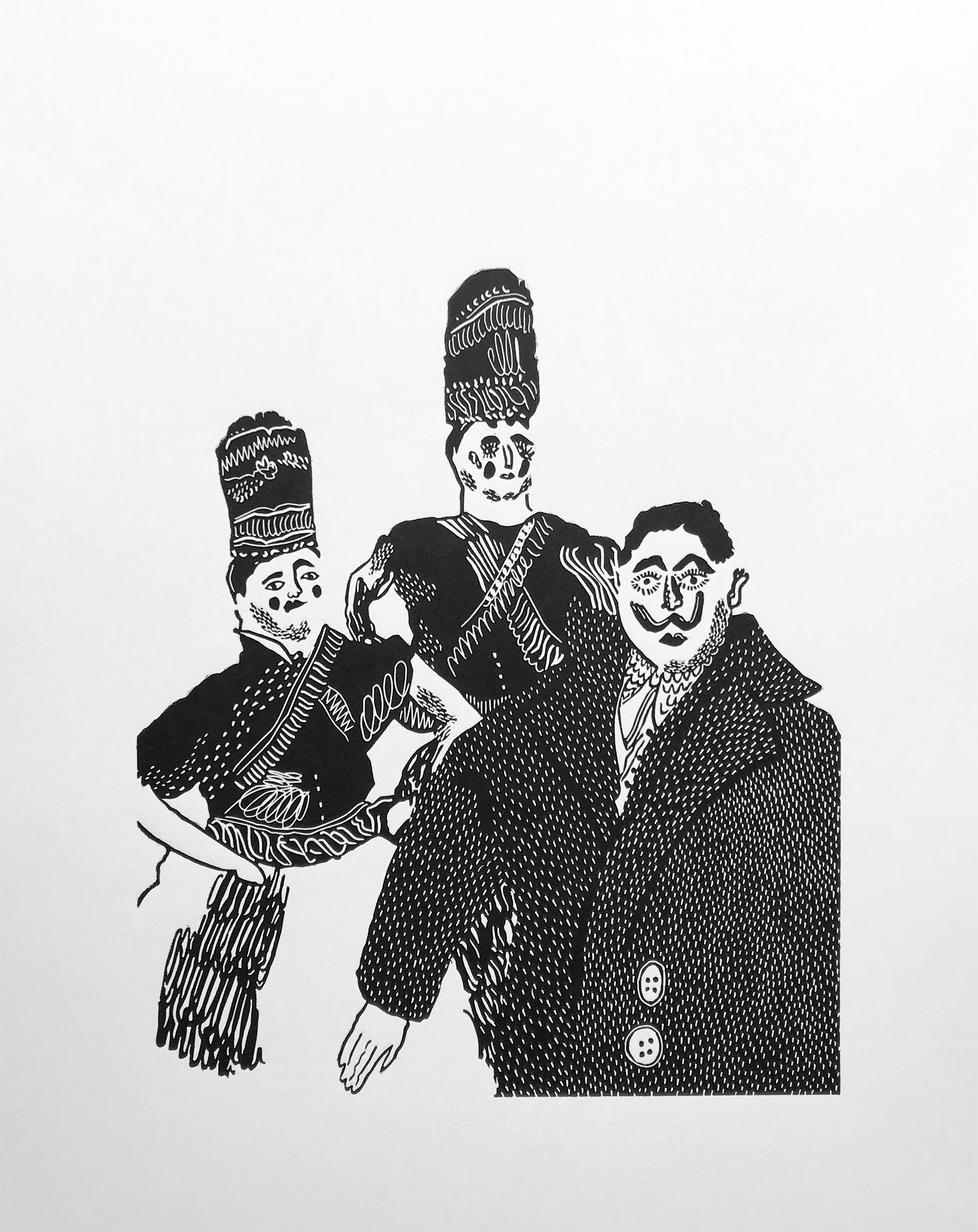 """<span class=""""link fancybox-details-link""""><a href=""""/exhibitions/17/works/image_standalone701/"""">View Detail Page</a></span><p><strong>Ben Hendy</strong></p><p>Portuguese Puppets</p><p>linocut, ed of 8</p><p>26 x 34cm</p><p>£180 framed</p><p>£90 unframed</p>"""