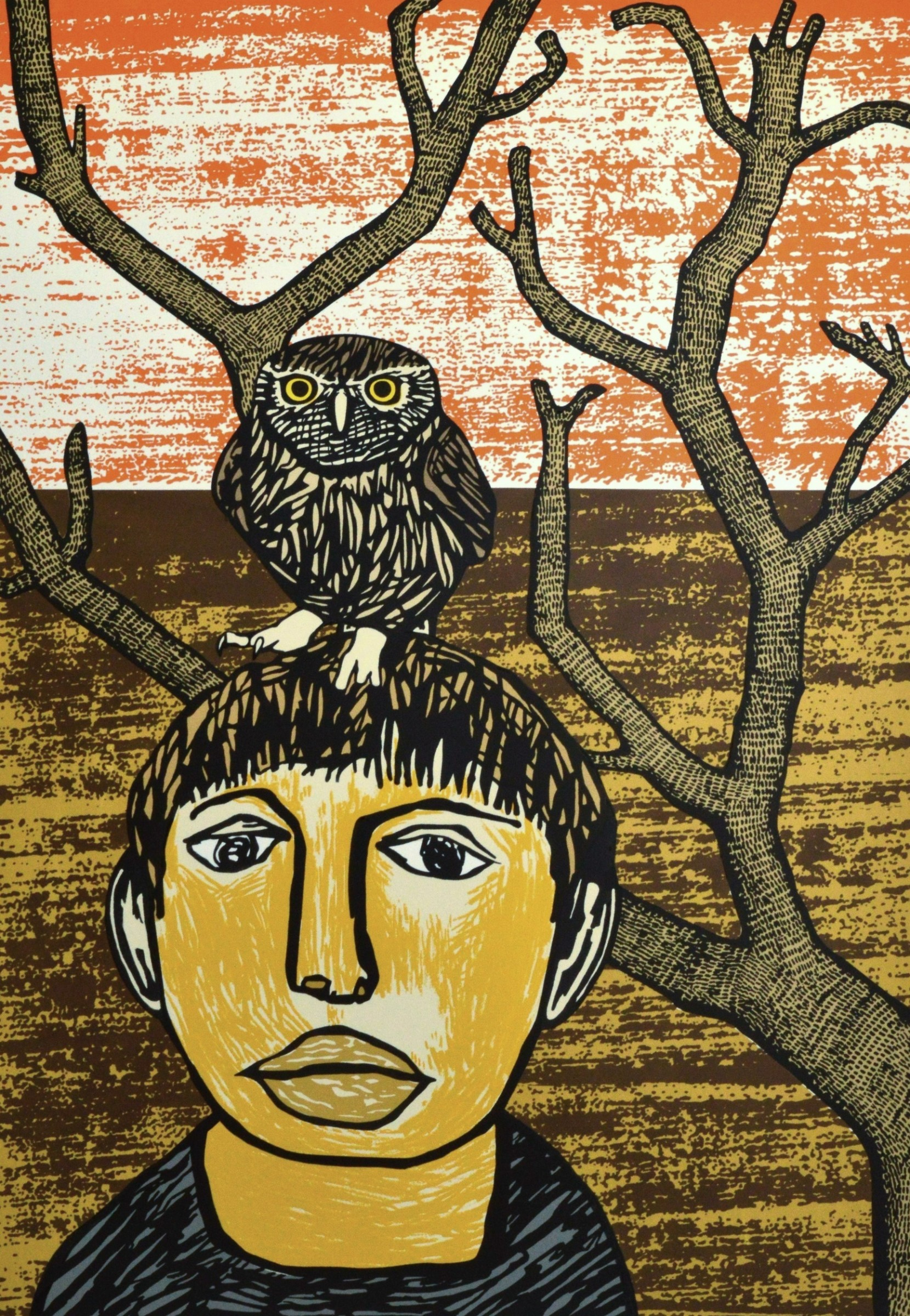 """<span class=""""link fancybox-details-link""""><a href=""""/exhibitions/17/works/image_standalone709/"""">View Detail Page</a></span><p><strong>Paul Hogg</strong></p><p>Owl Boy (Once upon a time in the Midlands, 3 miles from the edge of town)</p><p>screenprint, ed of 25</p><p>70 x 50cm</p><p>£400 framed</p><p>£300 unframed</p>"""