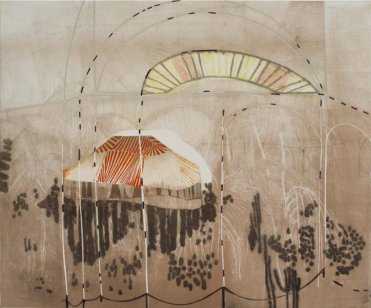 """<span class=""""link fancybox-details-link""""><a href=""""/exhibitions/17/works/image_standalone711/"""">View Detail Page</a></span><p><strong>Katherine Jones</strong></p><p>Witness to a Spectacle</p><p>drypoint, carborundum, relief print and hand colouring, ed of 25</p><p>98 x 82cm</p><p>£1100 framed</p><p>£950 unframed</p>"""