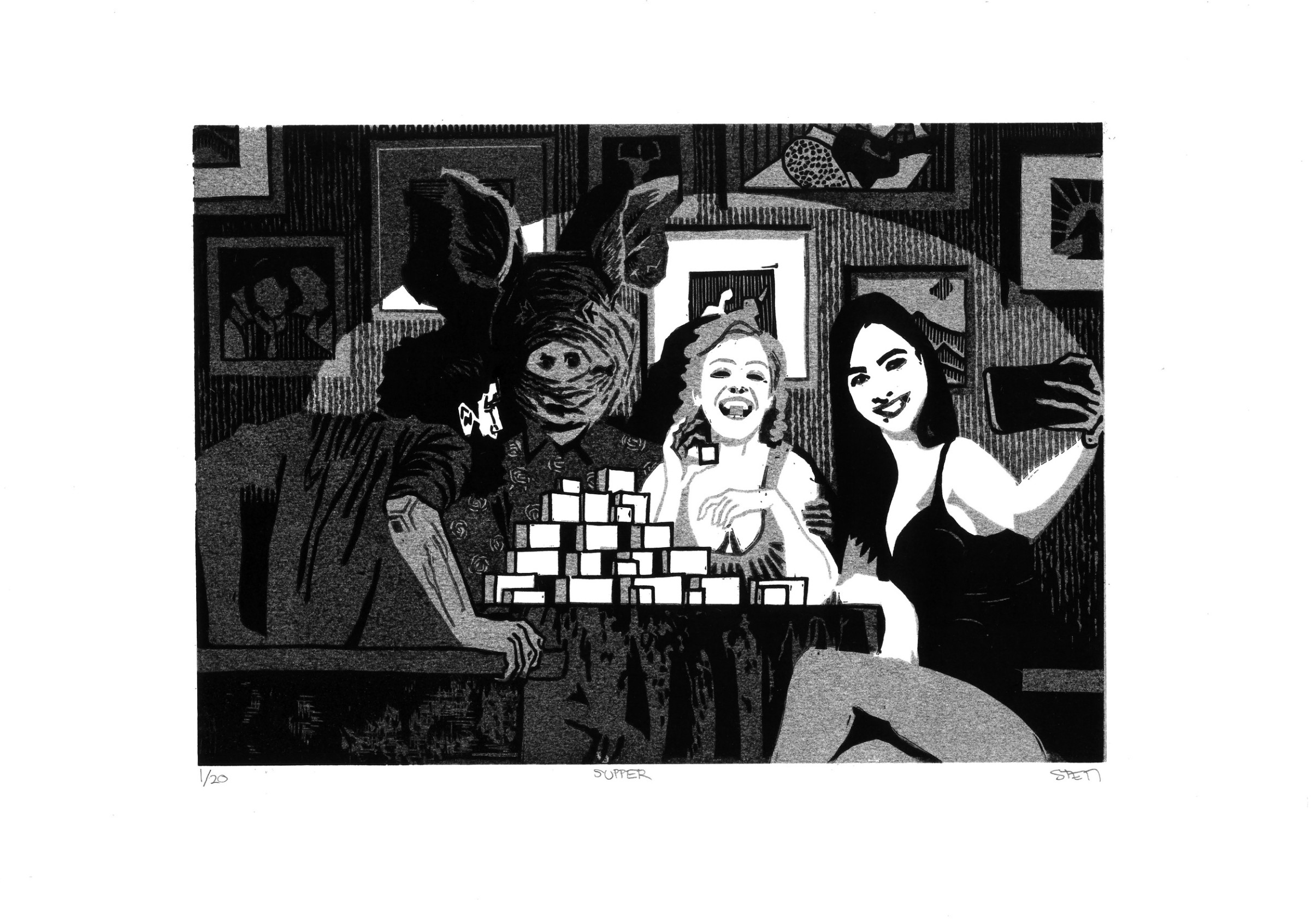 """<span class=""""link fancybox-details-link""""><a href=""""/exhibitions/17/works/image_standalone736/"""">View Detail Page</a></span><p><strong>Stepan Martinovsky</strong></p><p>Supper</p><p>linocut, ed of 20</p><p>42 x 30cm</p><p>£200 framed</p><p>£150 unframed</p>"""