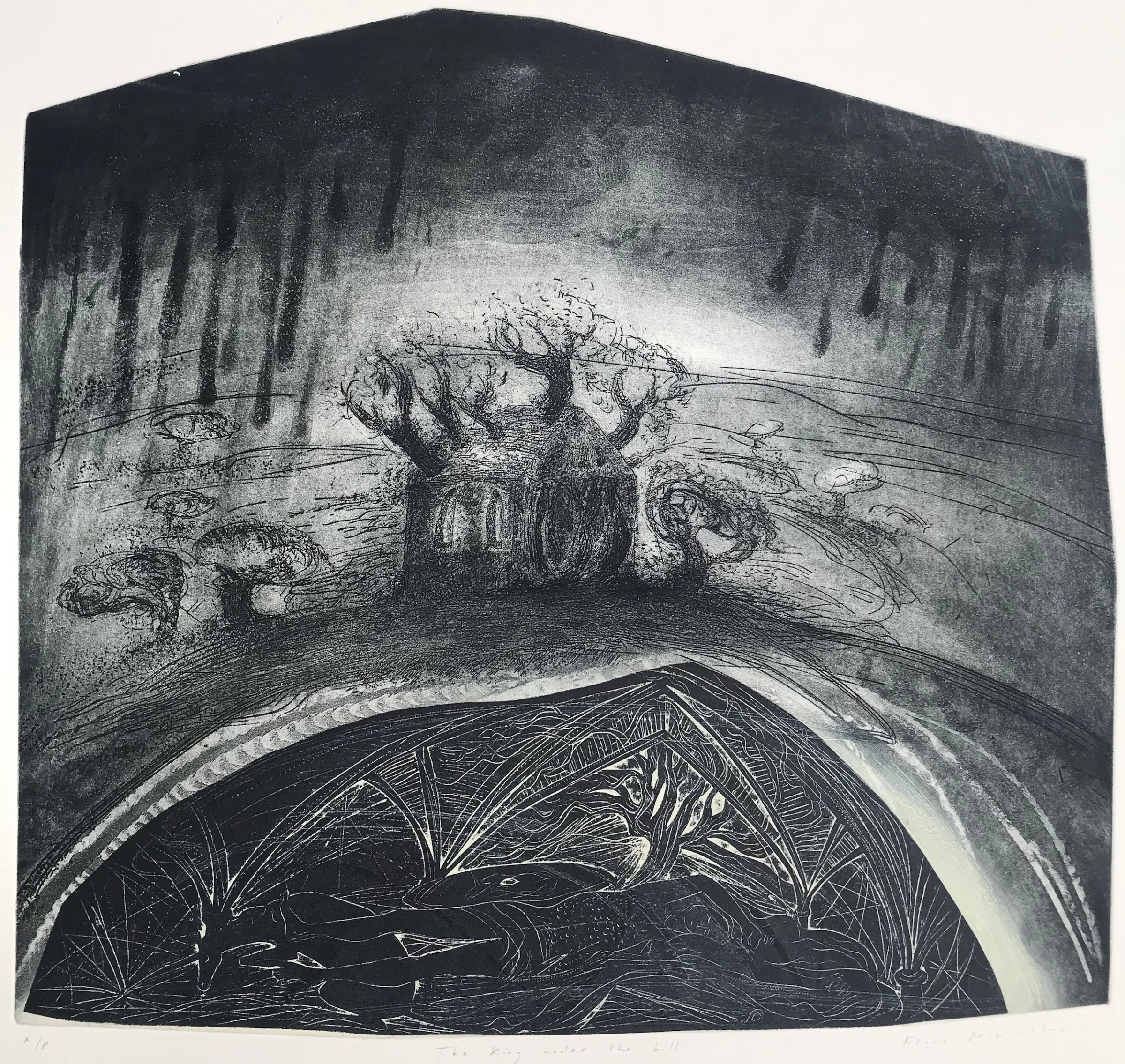 """<span class=""""link fancybox-details-link""""><a href=""""/exhibitions/17/works/image_standalone606/"""">View Detail Page</a></span><p><strong>Flora McLachlan</strong></p><p>The King Under the Hill</p><p>etching & block print, edition of 12</p><p>56 x 62cm</p><p>£360 framed</p><p>£280 unframed</p>"""