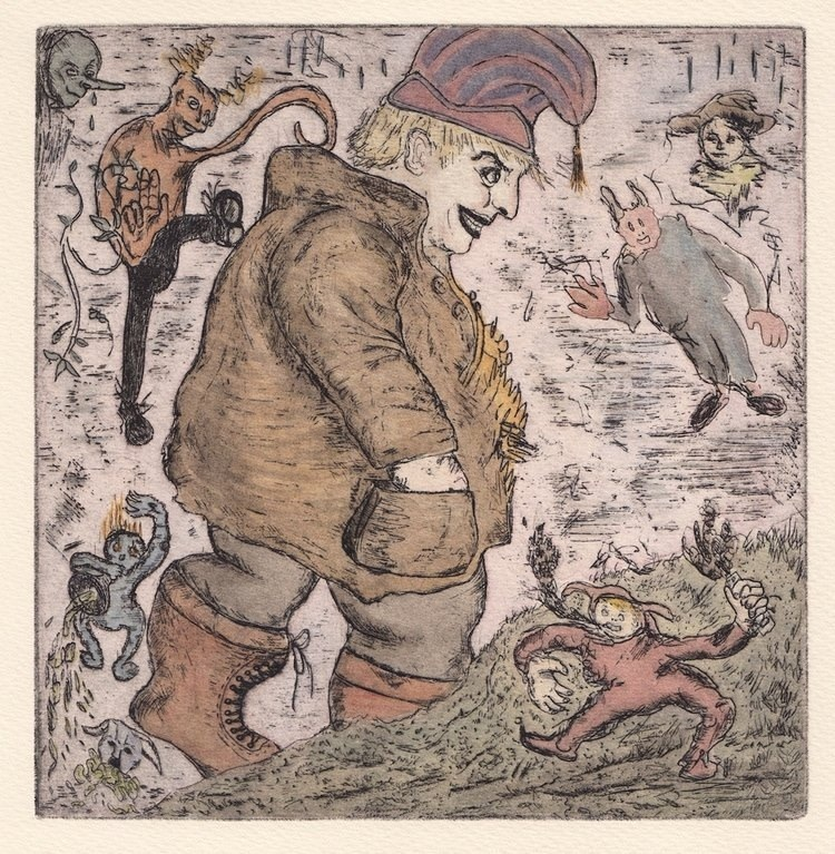 "<span class=""link fancybox-details-link""><a href=""/exhibitions/17/works/image_standalone738/"">View Detail Page</a></span><p><strong>Oliver McConnie</strong></p><p>Gargantua</p><p>hand coloured etching, ed of 30</p><p>32 x 32cm</p><p>£290 framed</p><p>£220 unframed</p>"