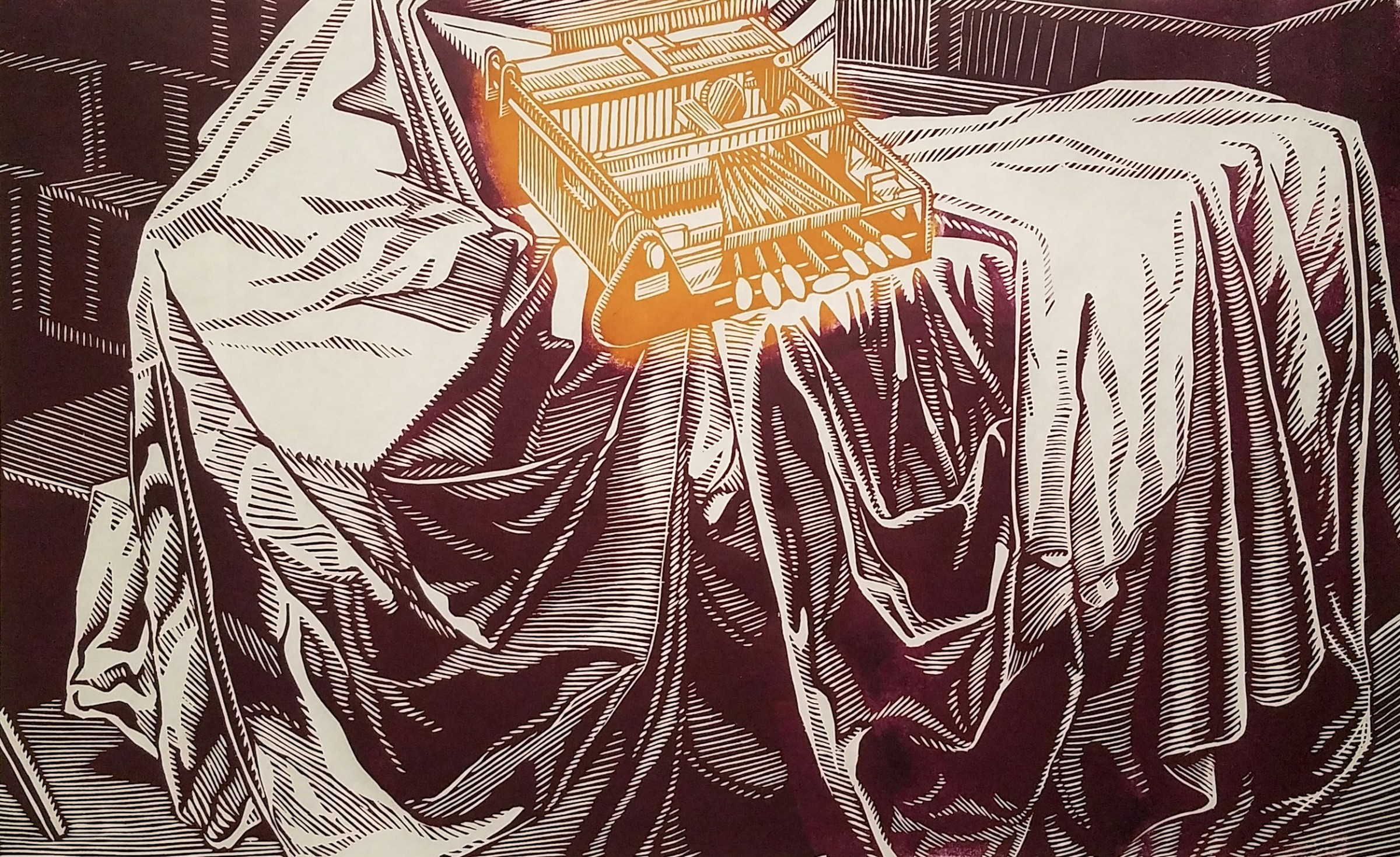 """<span class=""""link fancybox-details-link""""><a href=""""/exhibitions/17/works/image_standalone741/"""">View Detail Page</a></span><p><strong>John McKaig</strong></p><p>Blind Crown II</p><p>woodcut, ed of 15</p><p>111 x 81cm</p><p>£700 framed</p><p>£500 unframed</p>"""