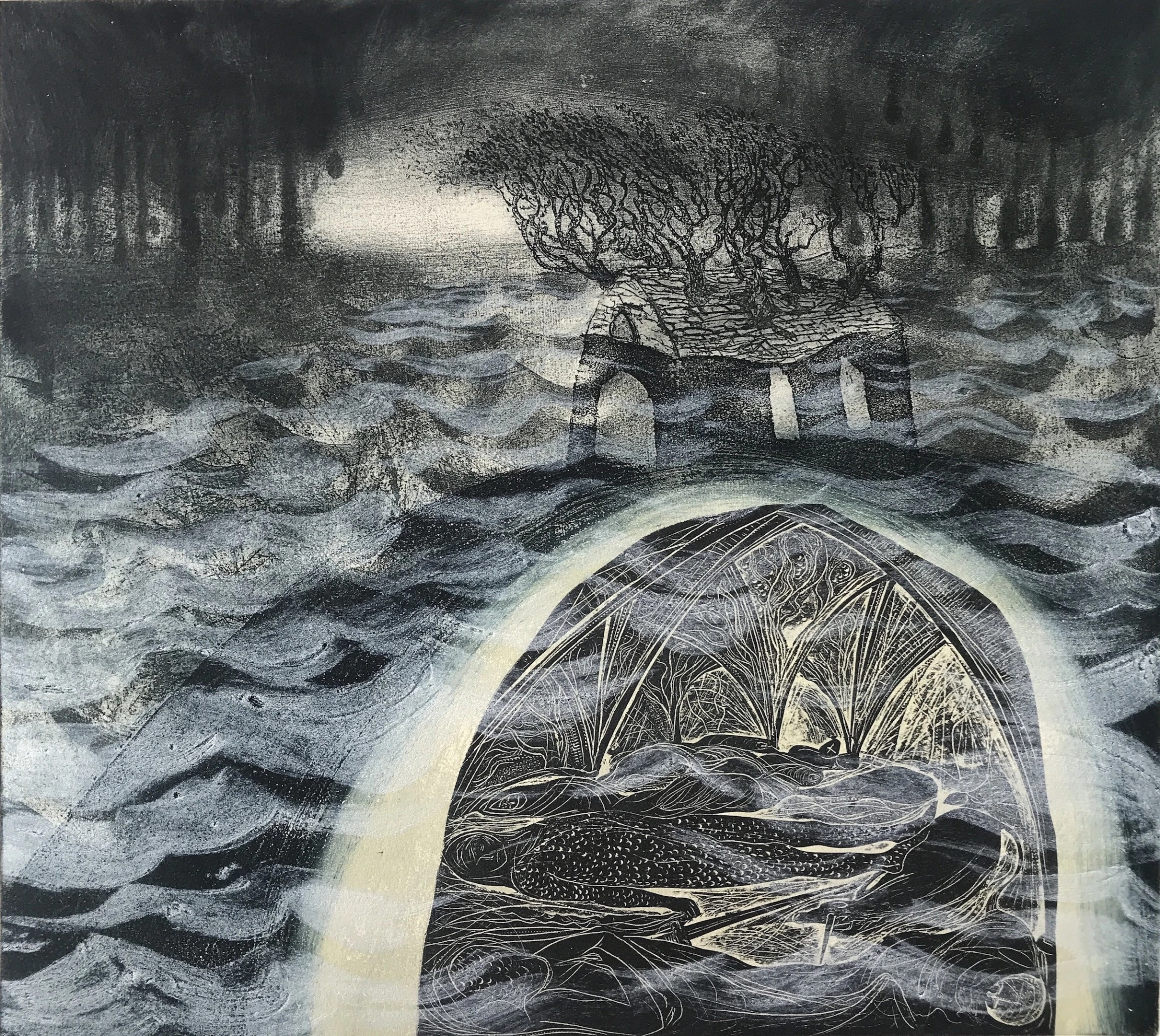 """<span class=""""link fancybox-details-link""""><a href=""""/exhibitions/17/works/image_standalone607/"""">View Detail Page</a></span><p><strong>Flora McLachlan</strong></p><p>The Sleepers under the Flood</p><p>etching, block print & carborundum, edition of 12</p><p>56 x 62cm</p><p>£360 framed</p><p>£280 unframed</p>"""