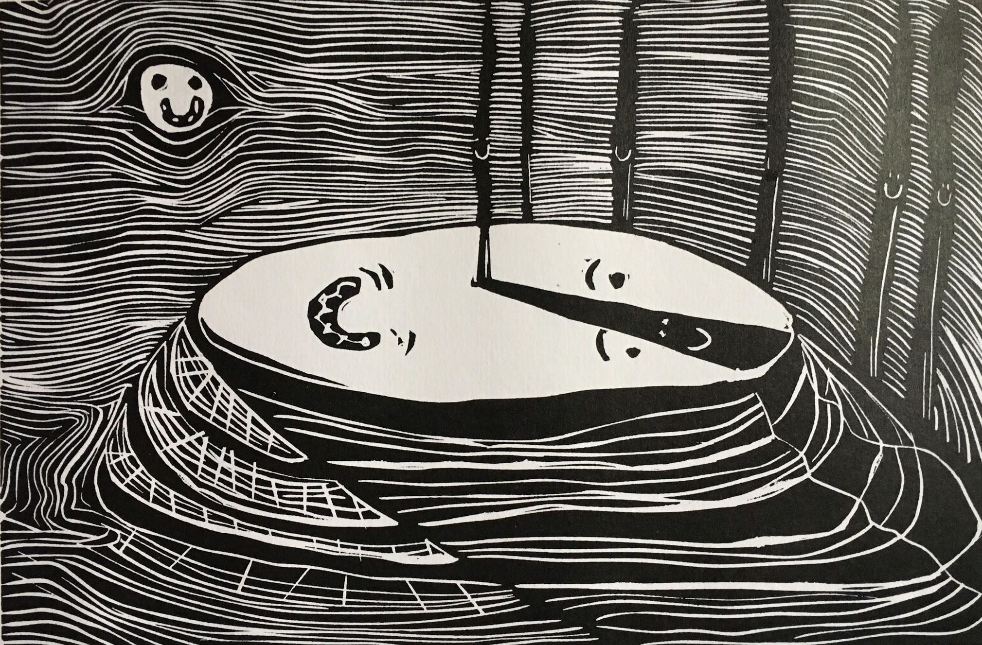 """<span class=""""link fancybox-details-link""""><a href=""""/exhibitions/17/works/image_standalone766/"""">View Detail Page</a></span><p><strong>Kristina Nabažaitė</strong></p><p>Smiling Mountain</p><p>linocut, ed of 15</p><p>24 x 16cm paper size</p><p>£45 framed</p><p>£40 unframed</p><p></p>"""