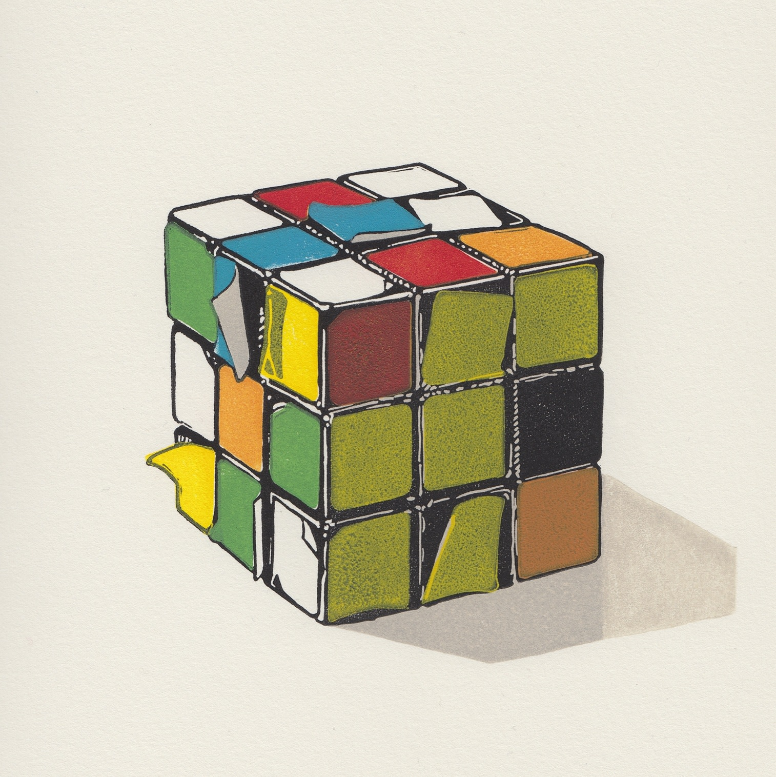"<span class=""link fancybox-details-link""><a href=""/exhibitions/17/works/image_standalone774/"">View Detail Page</a></span><p><strong>Ioana Pioaru</strong></p><p>Rubik's Cube Has Seen Better Days</p><p>linocut, ed of 40</p><p>30 x 30cm</p><p>£400 framed</p><p>£300 unframed</p>"