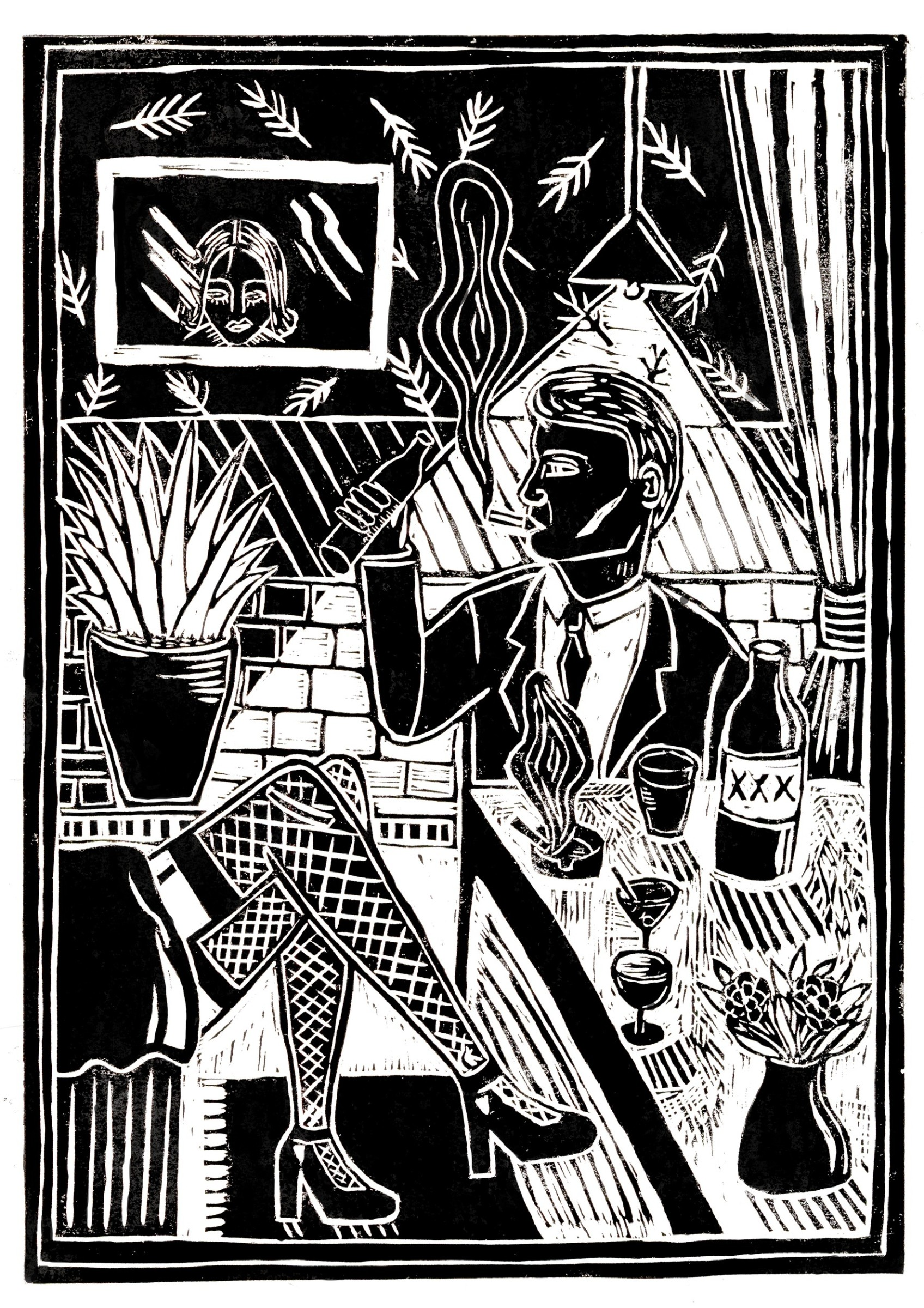 "<span class=""link fancybox-details-link""><a href=""/exhibitions/17/works/image_standalone781/"">View Detail Page</a></span><p><strong>Sophie Pitcock</strong></p><p>Pretty Wooman</p><p>linocut, ed of 100</p><p>30 x 42cm</p><p>£200 framed</p><p>£150 unframed</p>"