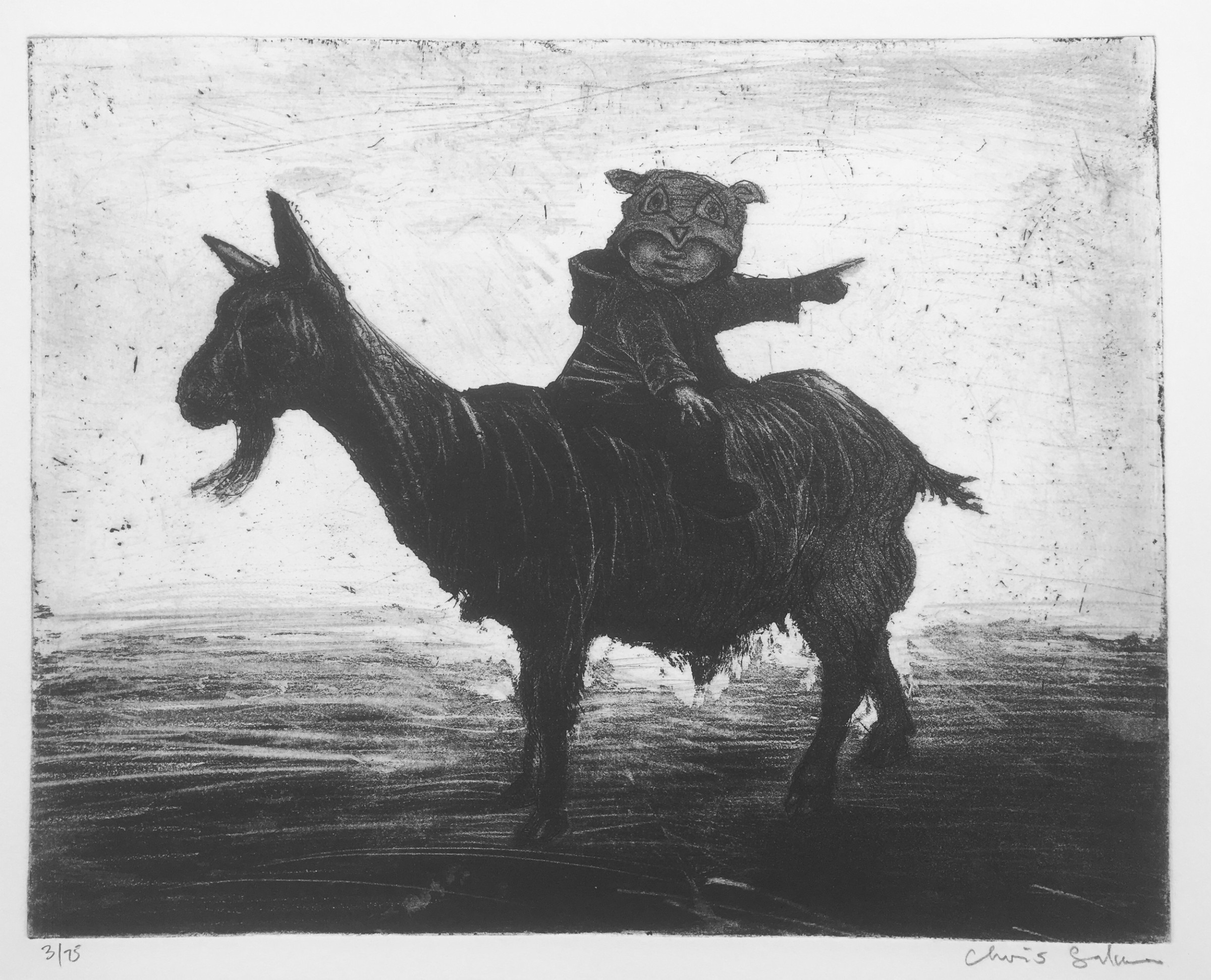 "<span class=""link fancybox-details-link""><a href=""/exhibitions/17/works/image_standalone792/"">View Detail Page</a></span><p><strong>Chris Salmon</strong></p><p>Goat Rider</p><p>etching, ed of 75</p><p>30 x 40cm</p><p>£195 framed</p><p>£175 unframed</p>"