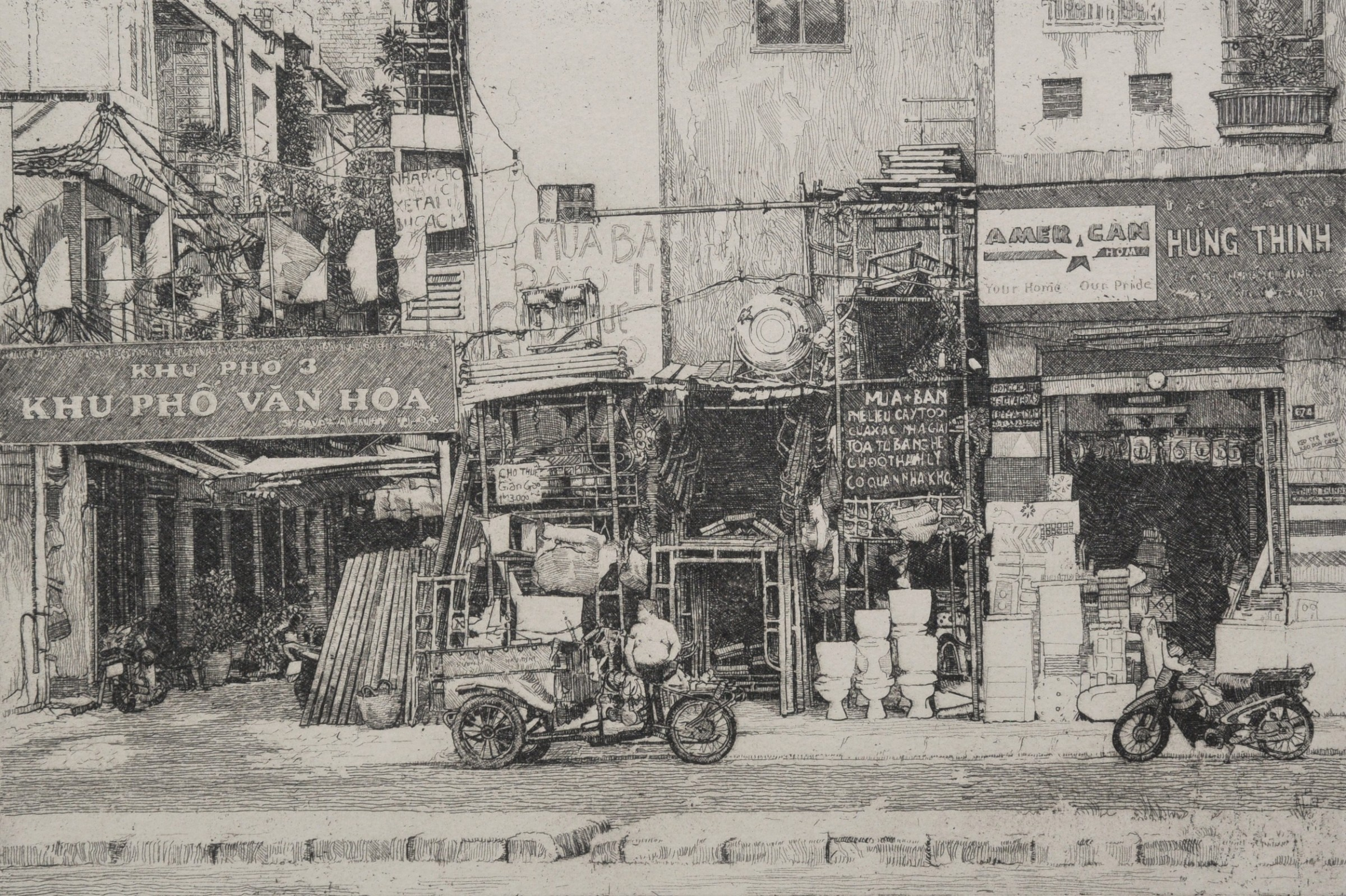 """<span class=""""link fancybox-details-link""""><a href=""""/exhibitions/17/works/image_standalone813/"""">View Detail Page</a></span><p><strong>Will Taylor</strong></p><p>Building Supplies Ho Chi Minh City</p><p>hardground etching, ed of 50</p><p>56 x 48cm</p><p>£400 framed</p><p>£300 unframed</p>"""
