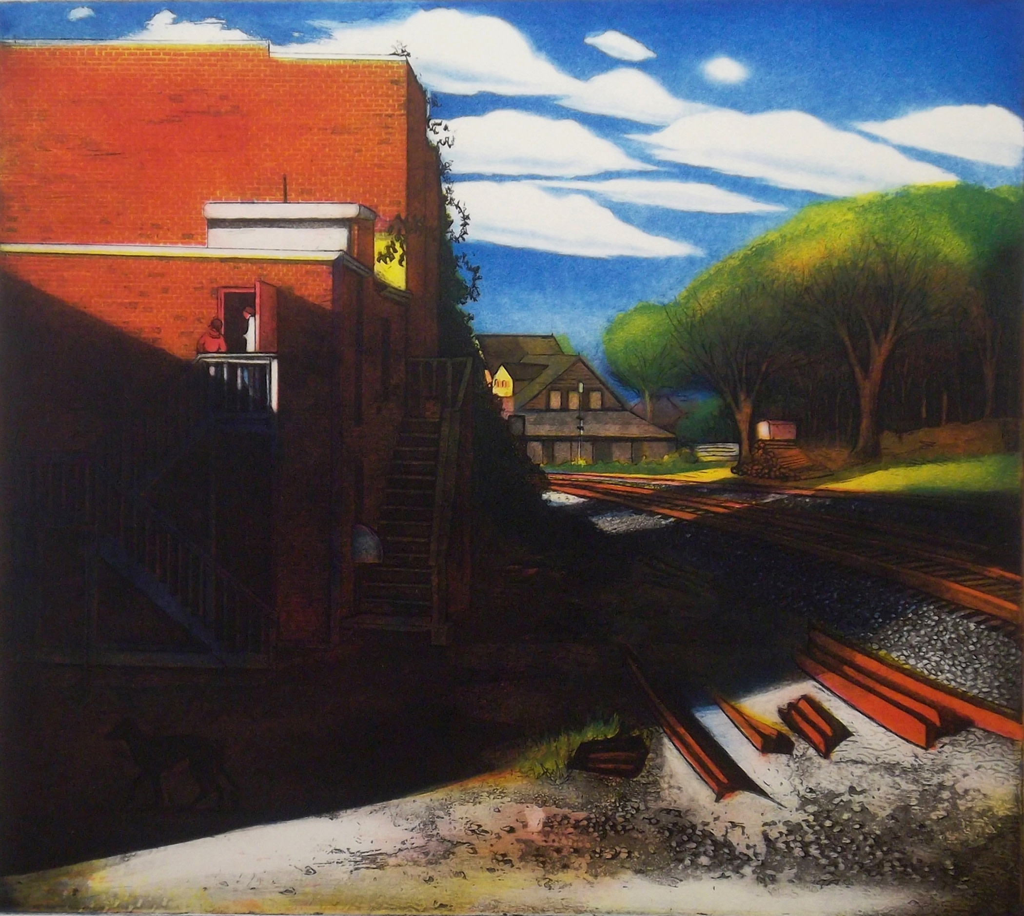 """<span class=""""link fancybox-details-link""""><a href=""""/exhibitions/17/works/image_standalone809/"""">View Detail Page</a></span><p><strong>Mary Teichman</strong></p><p>Tracks</p><p>copper etching and aquatint, ed of 50</p><p>61 x 64cm</p><p>£610 framed</p><p>£552 unframed</p>"""