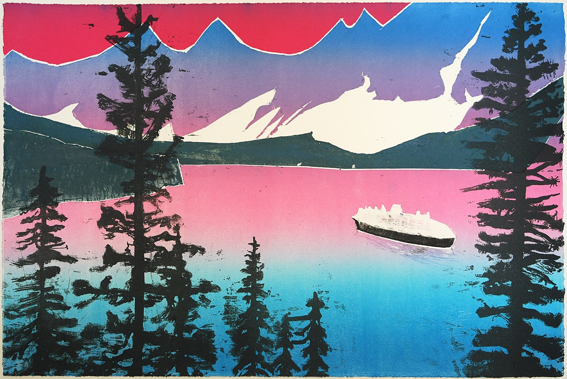 """<span class=""""link fancybox-details-link""""><a href=""""/exhibitions/17/works/image_standalone812/"""">View Detail Page</a></span><p><strong>Sadie Tierney</strong></p><p>Fjord Through Pines</p><p>kitchen lithography, colorgraph and hand colouring, ed of 7</p><p>44 x 63cm</p><p>£500 framed</p><p>£450 unframed</p>"""