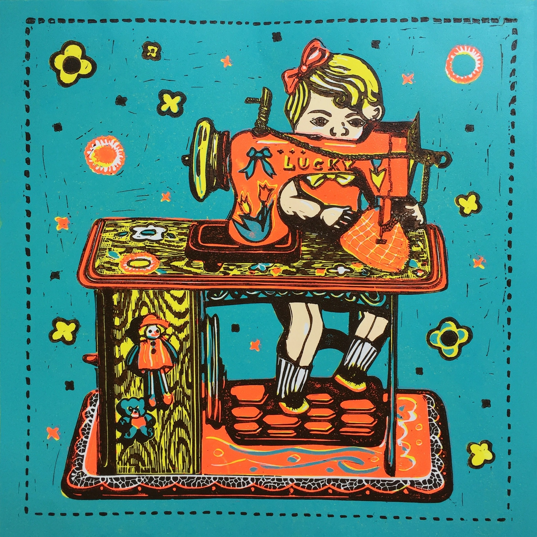 "<span class=""link fancybox-details-link""><a href=""/exhibitions/17/works/image_standalone814/"">View Detail Page</a></span><p><strong>Liz Turner</strong></p><p>Sewing Doll</p><p>linocut, ed of 50</p><p>40 x 40cm</p><p>£175 framed</p><p>£130 unframed</p>"