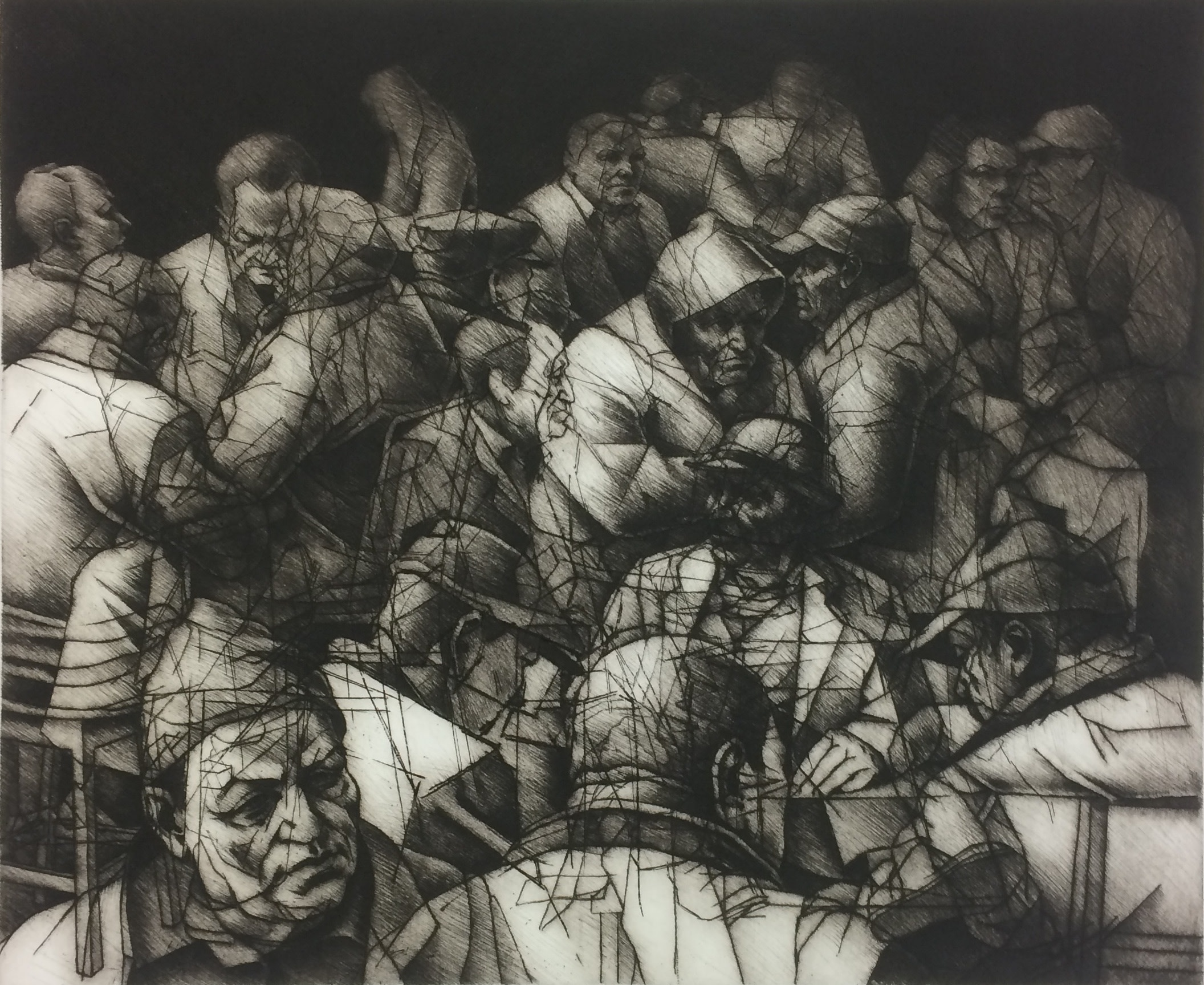 """<span class=""""link fancybox-details-link""""><a href=""""/exhibitions/17/works/image_standalone830/"""">View Detail Page</a></span><p><strong>Ali Yanya</strong></p><p>Traders</p><p>etching, engraving & drypoint, ed of 12</p><p>50 x 60cm</p><p>£425 framed</p><p>£325 unframed</p>"""