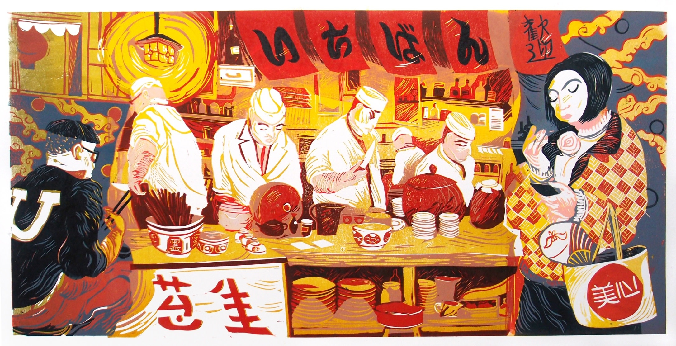 "<span class=""link fancybox-details-link""><a href=""/exhibitions/18/works/image_standalone953/"">View Detail Page</a></span><p>James Albon</p><p>Japanese Restaurant in Hong Kong</p><p>linocut</p><p>80 x 40cm</p><p>£800 framed</p><p>£700 unframed</p>"