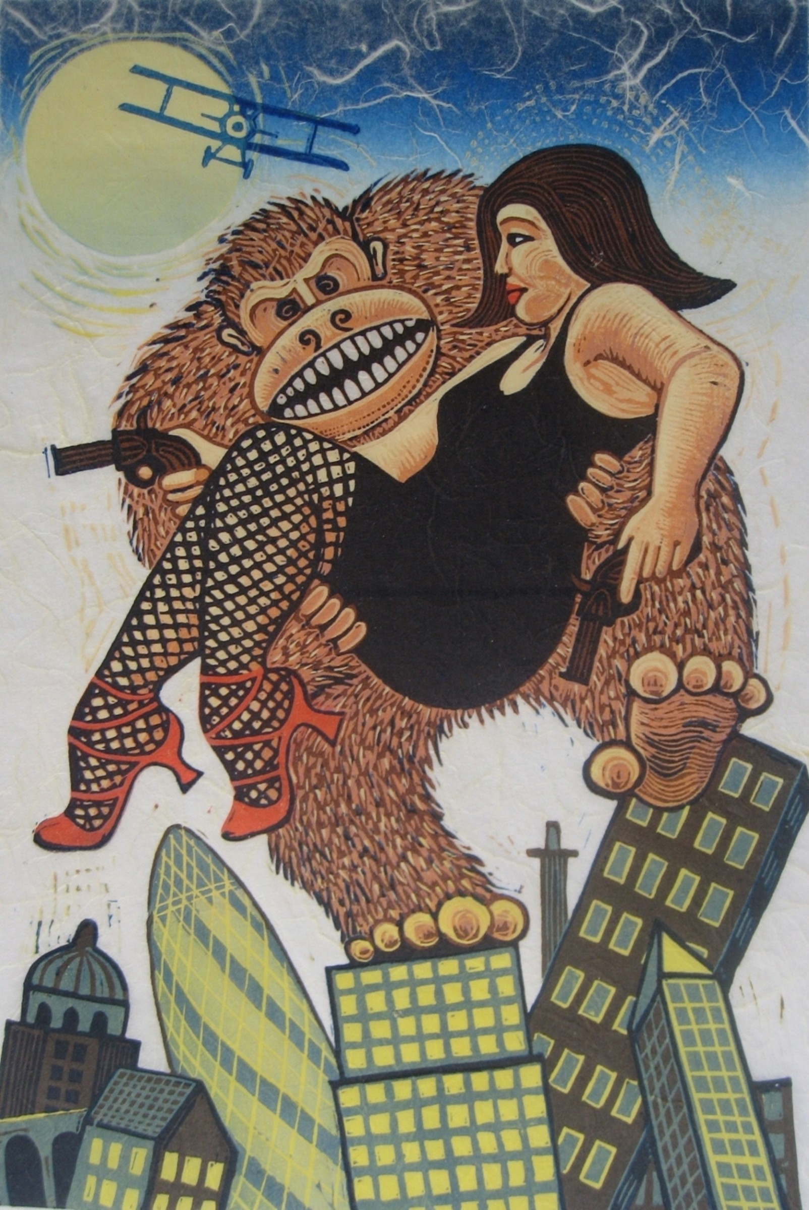 """<span class=""""link fancybox-details-link""""><a href=""""/exhibitions/18/works/image_standalone954/"""">View Detail Page</a></span><p>Jim Anderson RE</p><p>Mr and Mrs Kong Out on the Town</p><p>linocut</p><p>54 x 44cm</p><p>£300 framed</p><p>£200 unframed</p>"""
