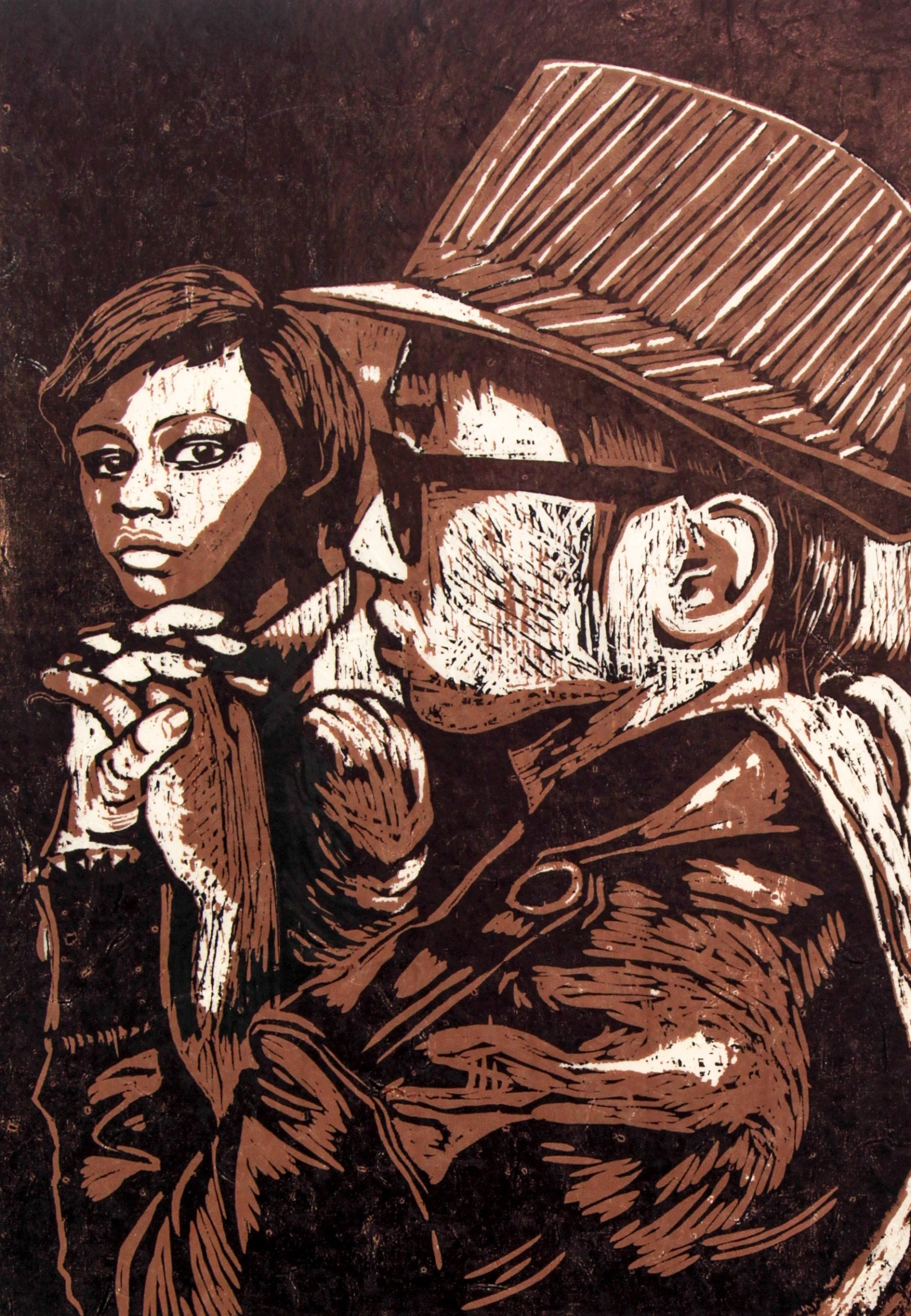 "<span class=""link fancybox-details-link""><a href=""/exhibitions/18/works/image_standalone961/"">View Detail Page</a></span><p>Denise Ballard Wyllie</p><p>Being Together, Estandos Juntos</p><p>woodcut</p><p>63 x 45cm</p><p>£650 framed</p><p>£450 unframed</p>"