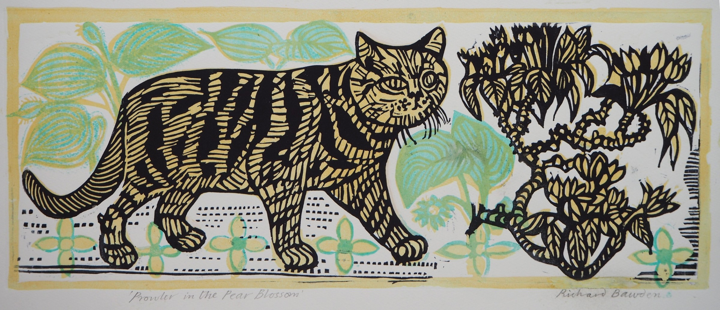 "<span class=""link fancybox-details-link""><a href=""/exhibitions/18/works/image_standalone957/"">View Detail Page</a></span><p>Richard Bawden RWS RE</p><p>Prowler in the Pear Blossom</p><p>linocut</p><p>44 x 72cm</p><p>£325 framed</p><p>£260 unframed</p>"
