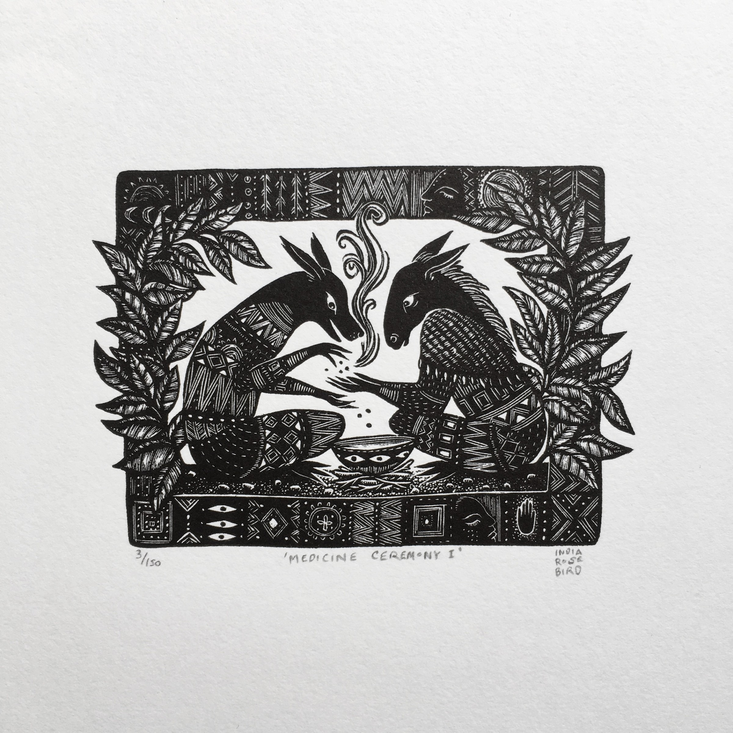 "<span class=""link fancybox-details-link""><a href=""/exhibitions/18/works/image_standalone964/"">View Detail Page</a></span><p>India Rose Bird</p><p>Medicine Ceremony I</p><p>wood engraving</p><p>24 x 21cm</p><p>£75 framed</p><p>£55 unframed</p>"