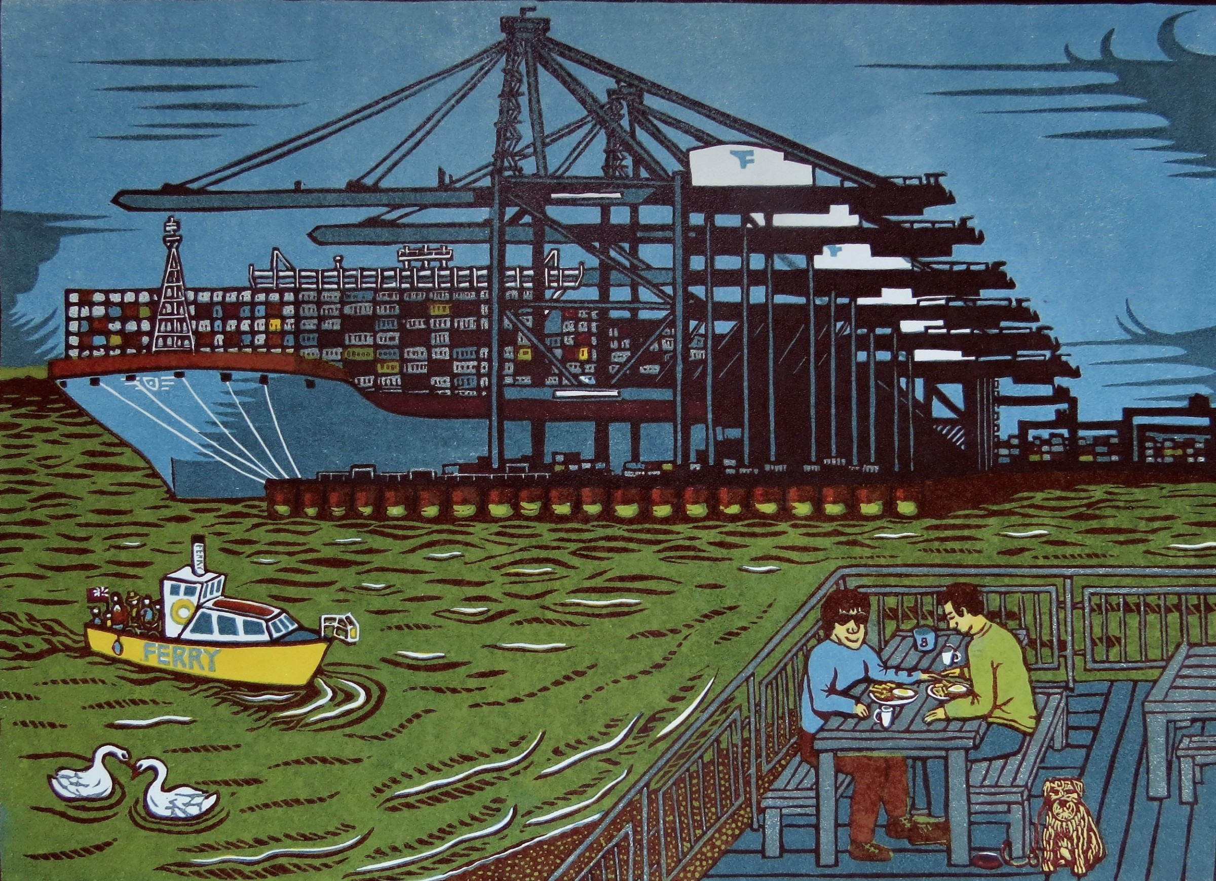 "<span class=""link fancybox-details-link""><a href=""/exhibitions/18/works/image_standalone1081/"">View Detail Page</a></span><p>Carl Borges</p><p>Breakfast at Landguard Point, Felixstowe</p><p>linocut</p><p>56 x 44cm</p><p>£250 framed</p><p>£195 unframed</p>"