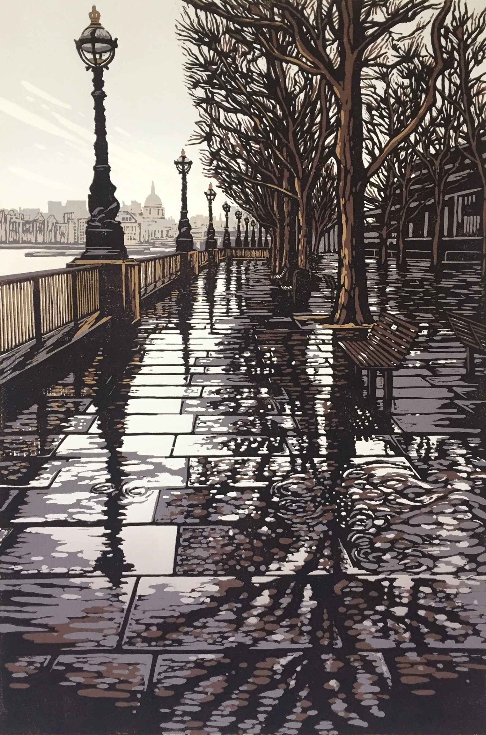 "<span class=""link fancybox-details-link""><a href=""/exhibitions/18/works/image_standalone974/"">View Detail Page</a></span><p>Alexandra Buckle</p><p>Southbank Puddles</p><p>linocut</p><p>74 x 54cm</p><p>£675 framed</p><p>£580 unframed</p>"