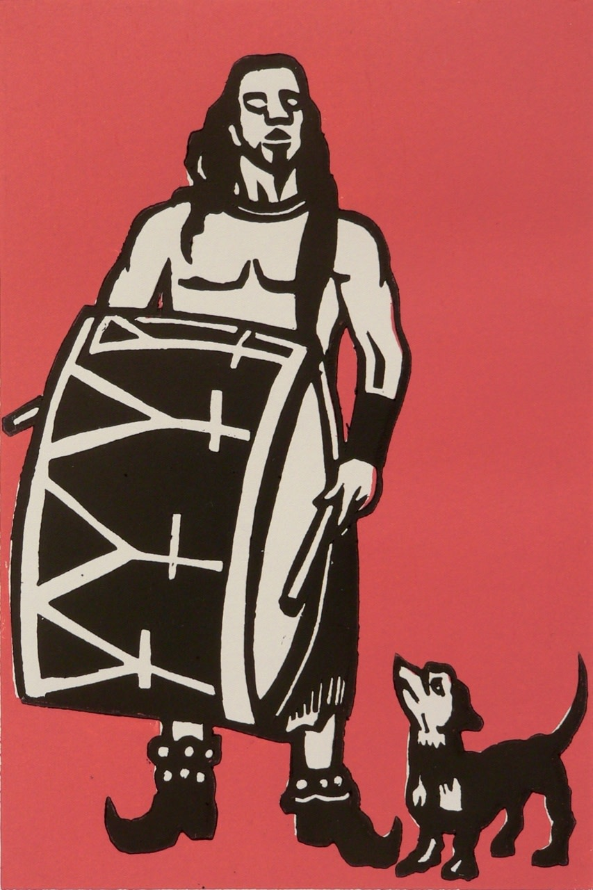 "<span class=""link fancybox-details-link""><a href=""/exhibitions/18/works/image_standalone996/"">View Detail Page</a></span><p>Chris Gilbert</p><p>Drummer & Dog</p><p>woodcut</p><p>35 x 45cm</p><p>£175 framed</p><p>£95 unframed</p>"