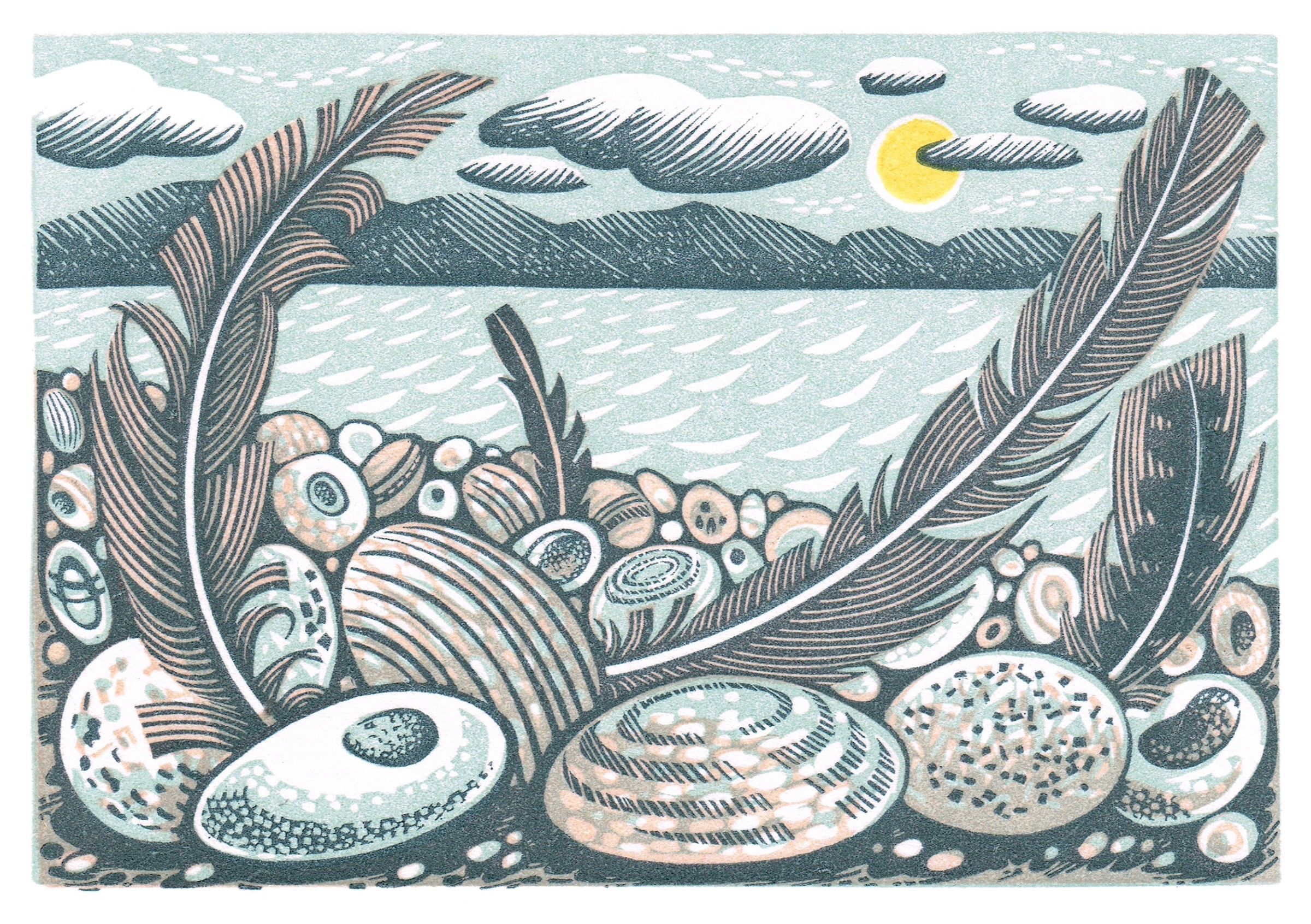 "<span class=""link fancybox-details-link""><a href=""/exhibitions/18/works/image_standalone1085/"">View Detail Page</a></span><p>Angie Lewin RWS RE</p><p>Tideline Feathers</p><p>wood engraving and linocut</p><p>27 x 30cm</p><p>£245 framed</p><p>£185 unframed</p>"