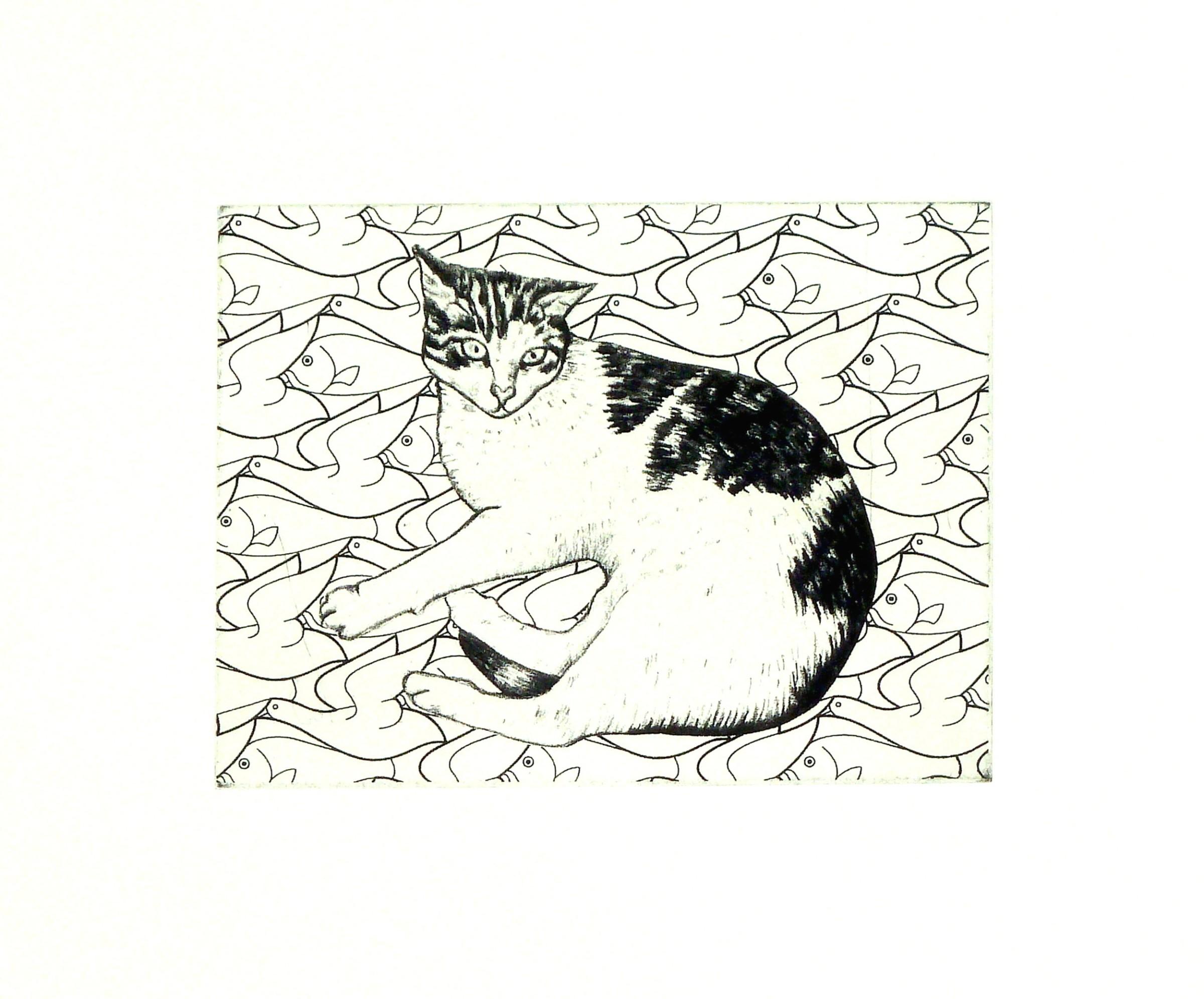 "<span class=""link fancybox-details-link""><a href=""/exhibitions/23/works/artworks_standalone11340/"">View Detail Page</a></span><div class=""artist""><span class=""artist""><strong>Meg Dutton RE</strong></span></div><div class=""title""><em>Dreaming Cat</em></div><div class=""medium"">etching</div><div class=""dimensions"">28 x 39 cm paper size<br>12.5 x 17 cm image size</div><div class=""edition_details"">edition of 100</div>"